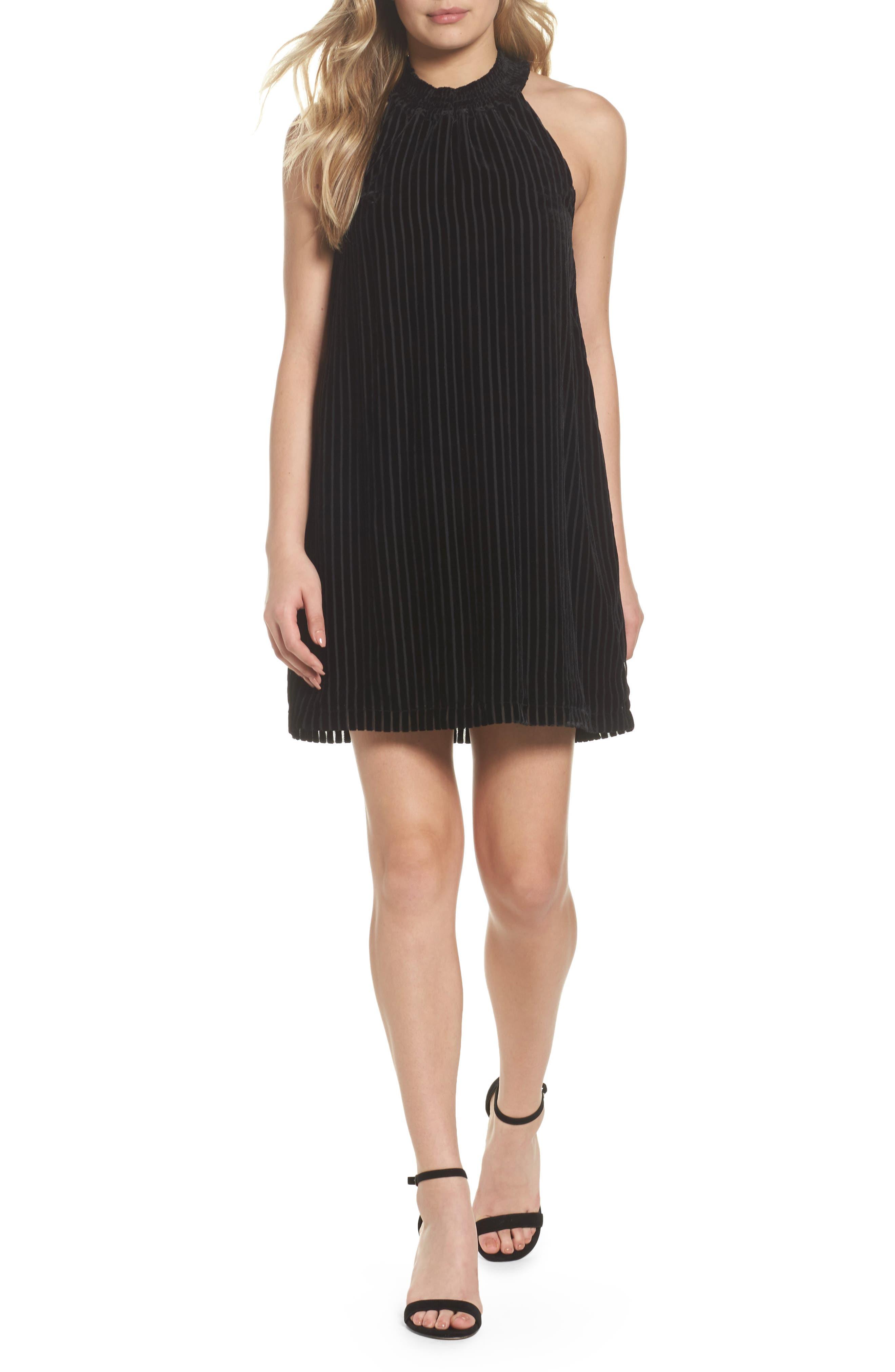 Midnight Velvet Shift Dress,                         Main,                         color, Black Velvet