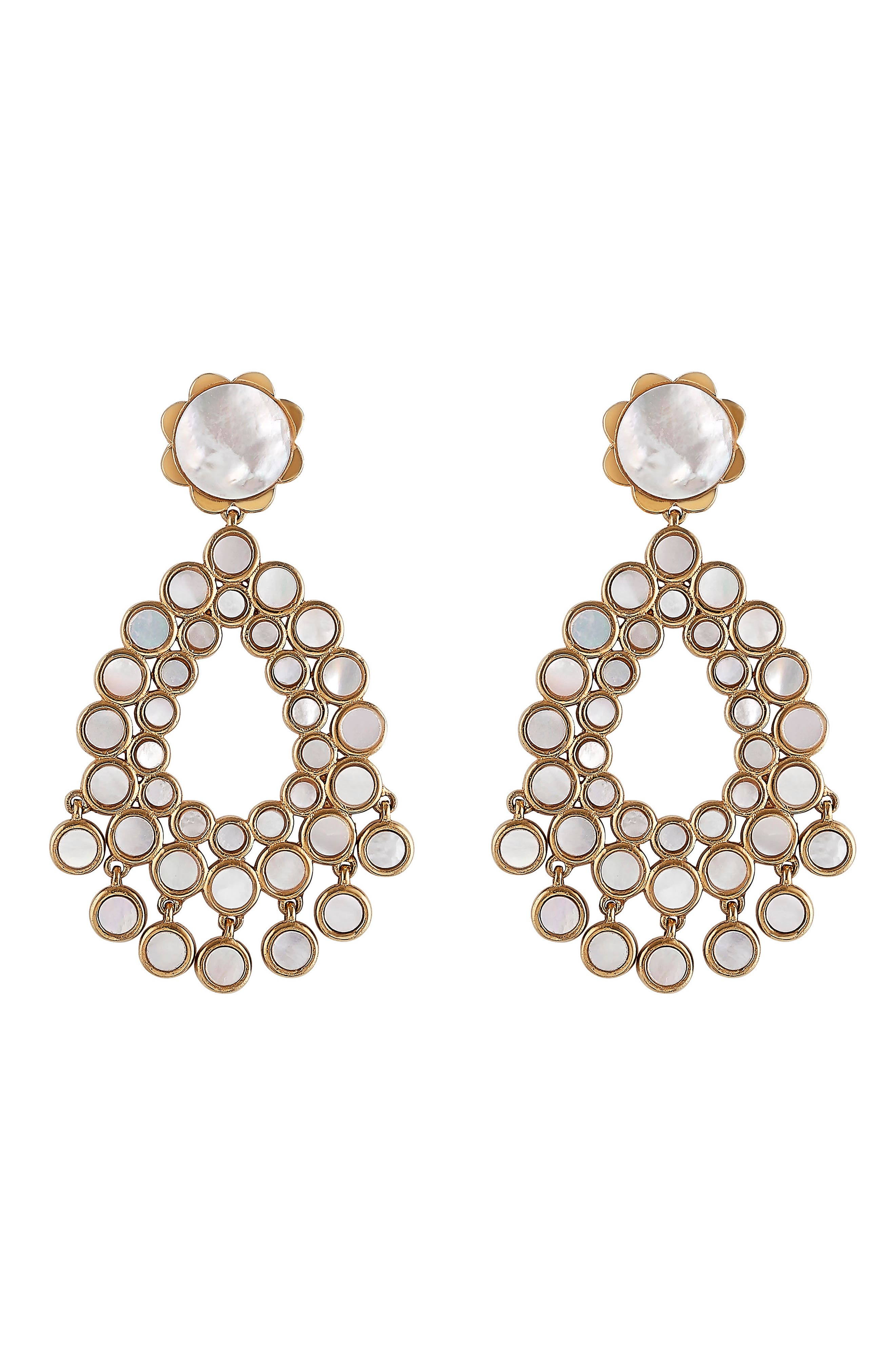 Flower Chandelier Earrings,                         Main,                         color, Gold - Mother Of Pearl