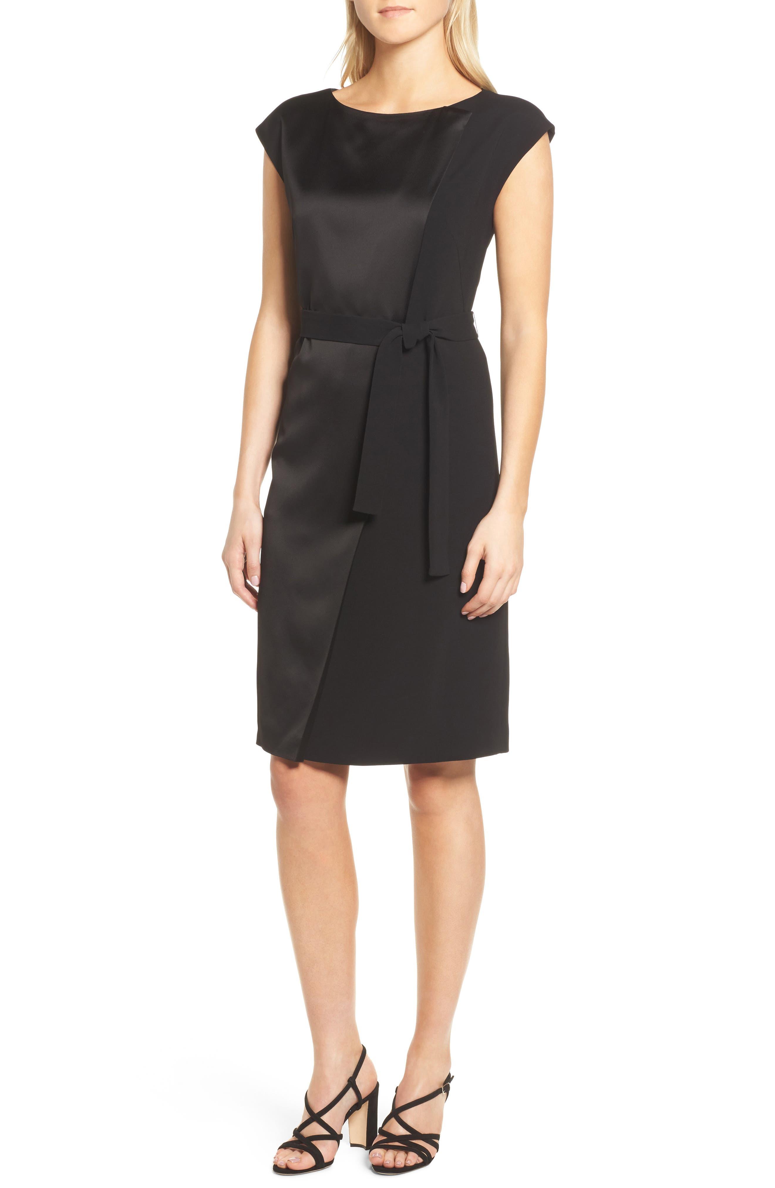 Drapena Faux Wrap Sheath Dress,                             Main thumbnail 1, color,                             Black