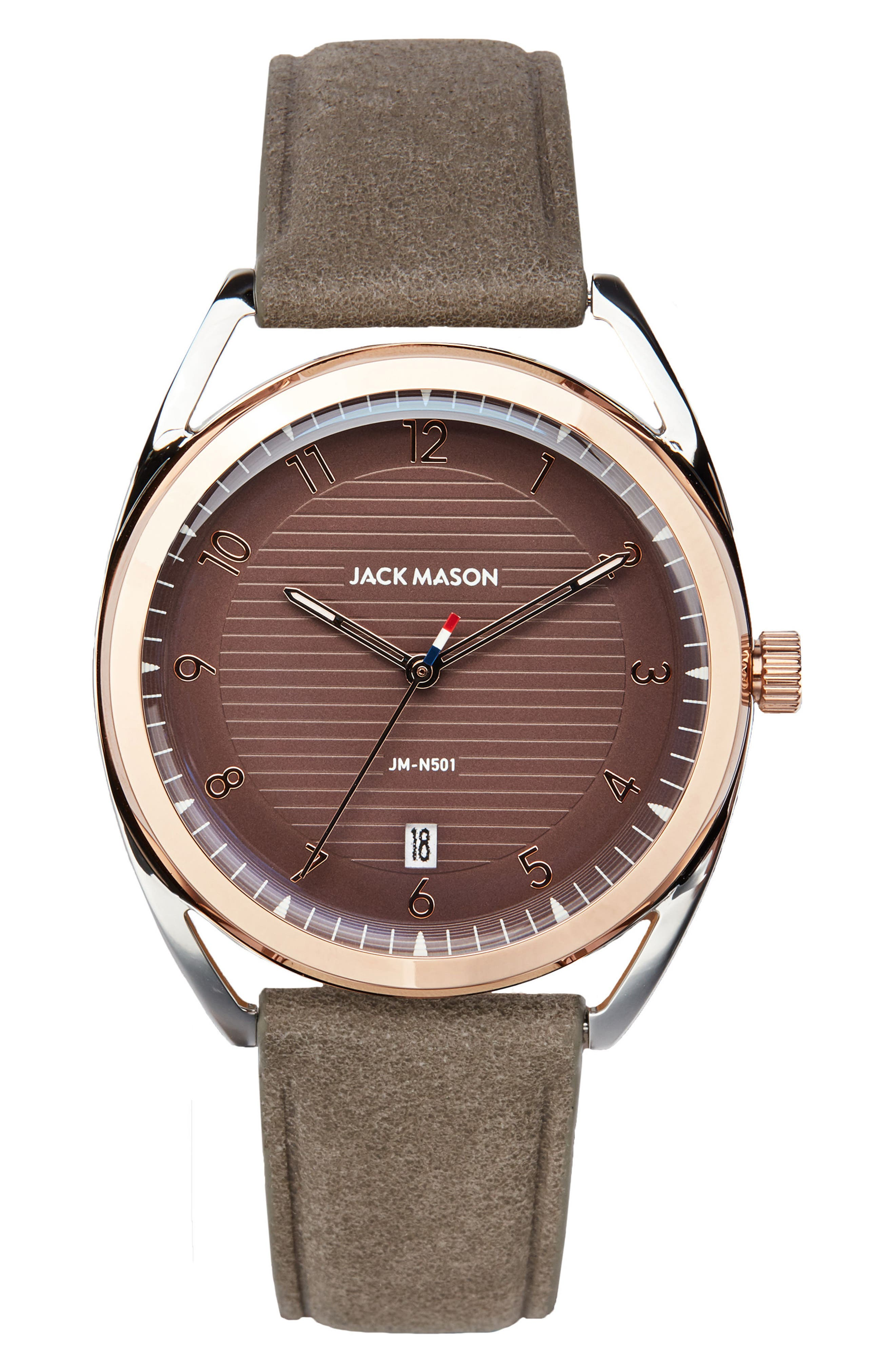 Deck Leather Strap Watch, 36mm,                             Main thumbnail 1, color,                             Grey/ Mauve/ Rose Gold