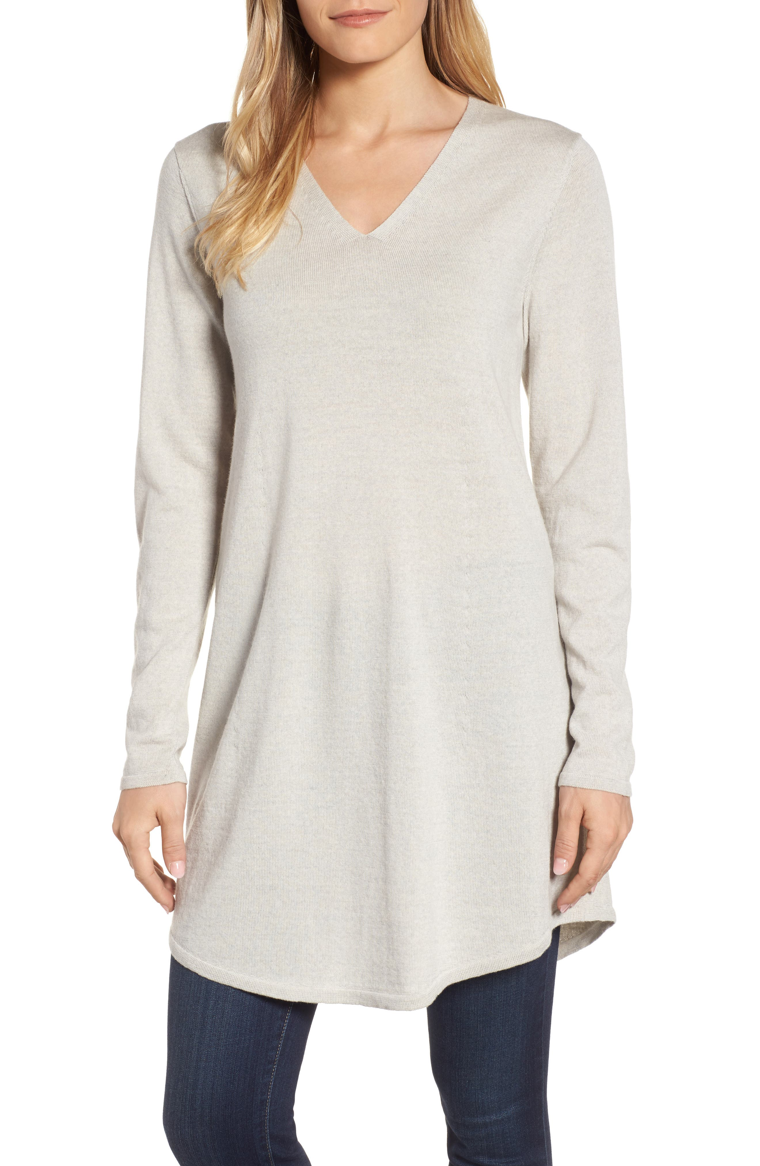Eileen Fisher Lightweight Merino Jersey V-Neck Tunic (Regular & Petite)