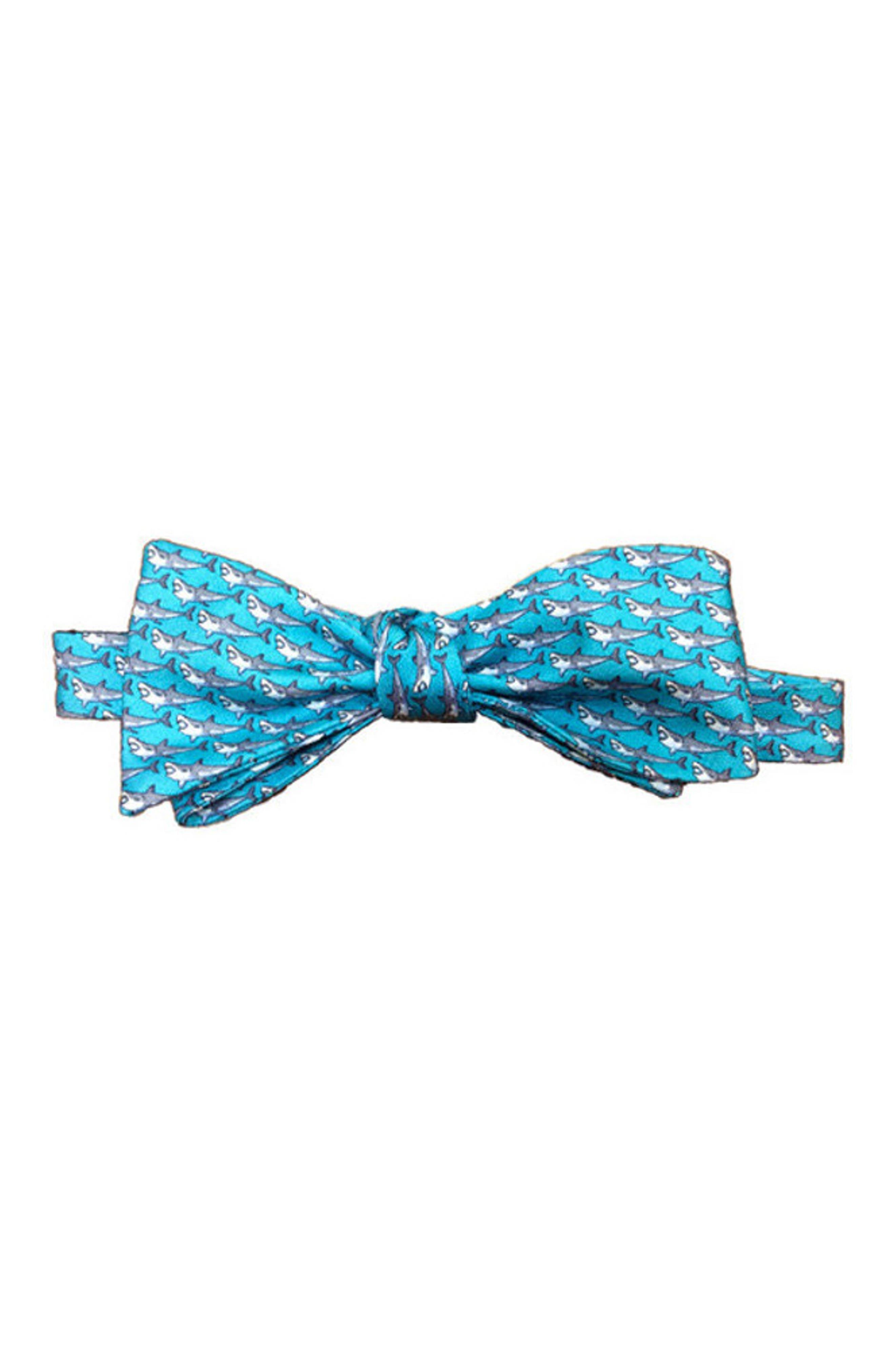 Shark Week Silk Bow Tie,                             Main thumbnail 1, color,                             Turquoise