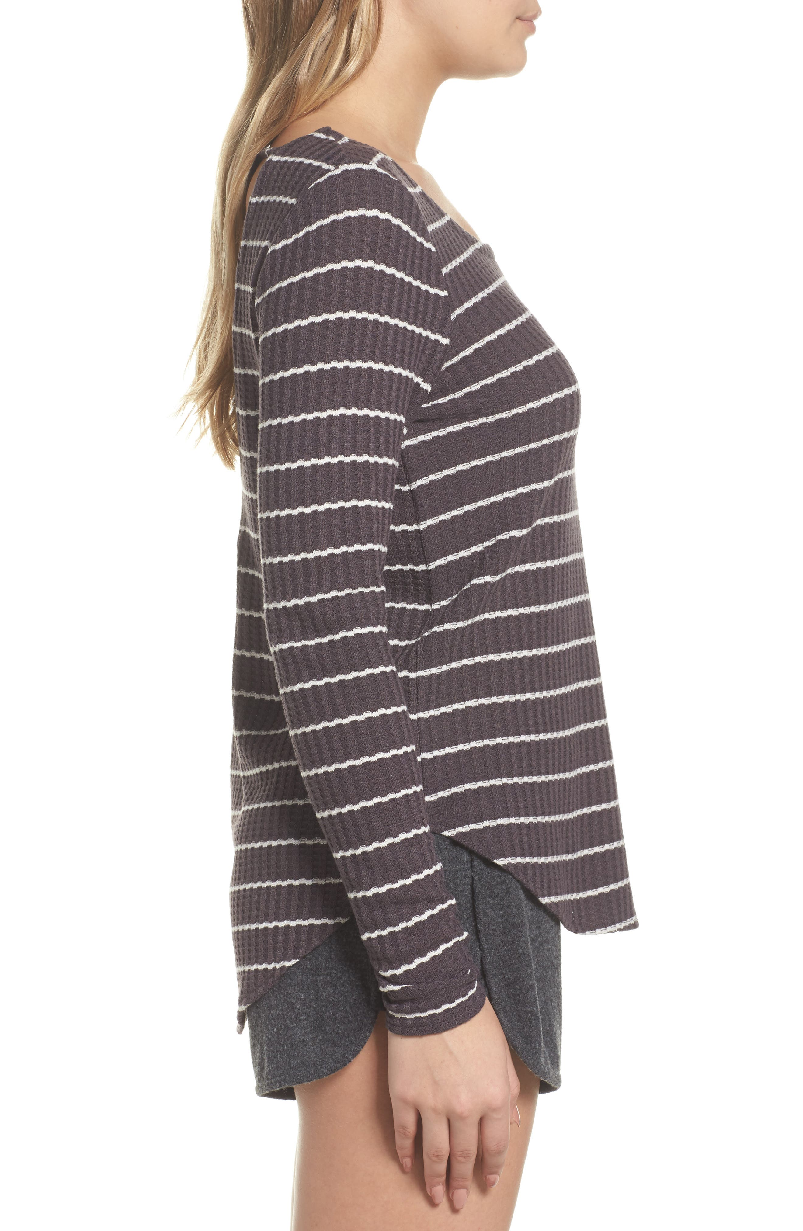 Thermal Knit Tee,                             Alternate thumbnail 3, color,                             Stripe