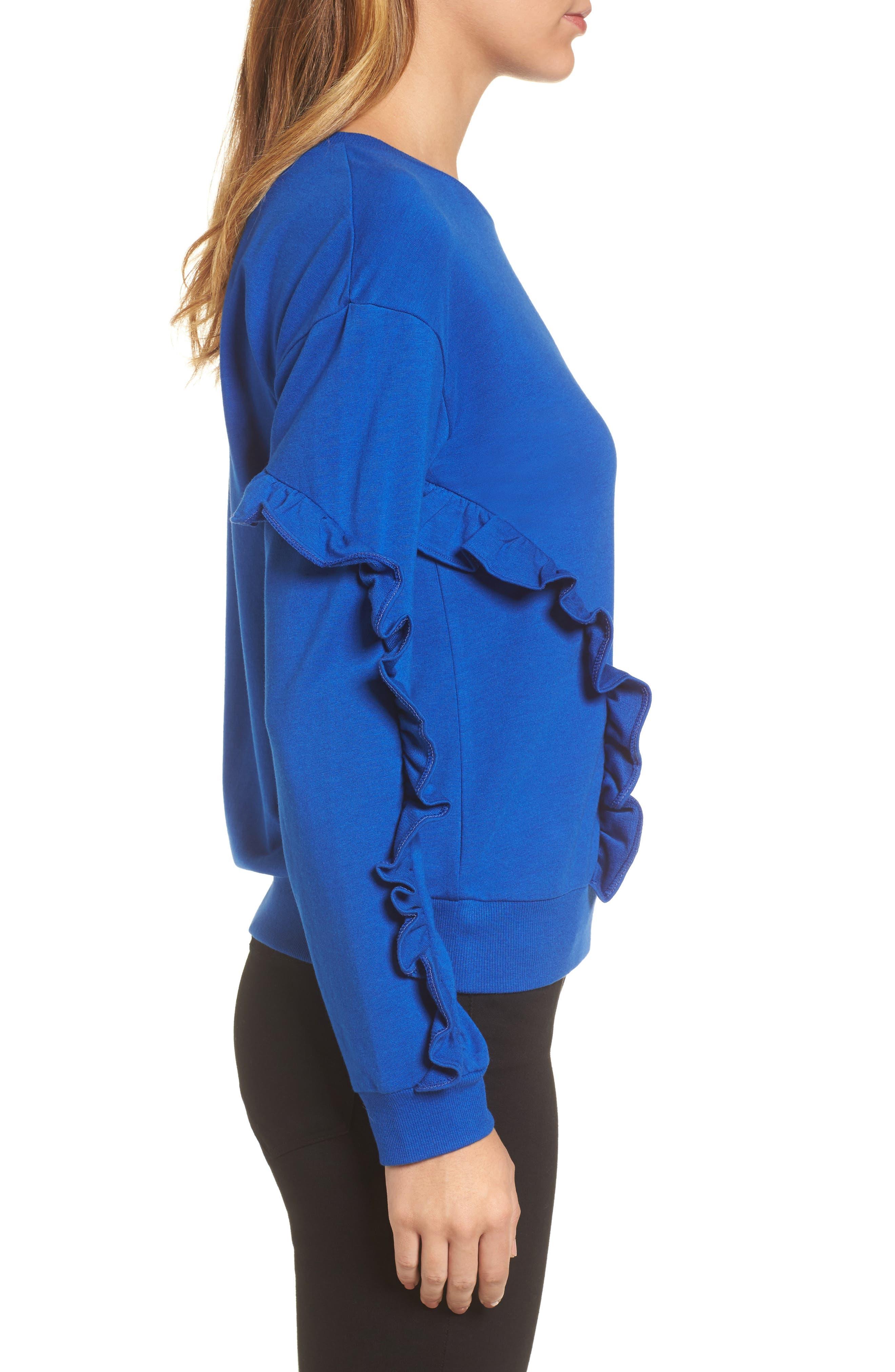 Ruffle Detail Sweatshirt,                             Alternate thumbnail 3, color,                             Blue Surf