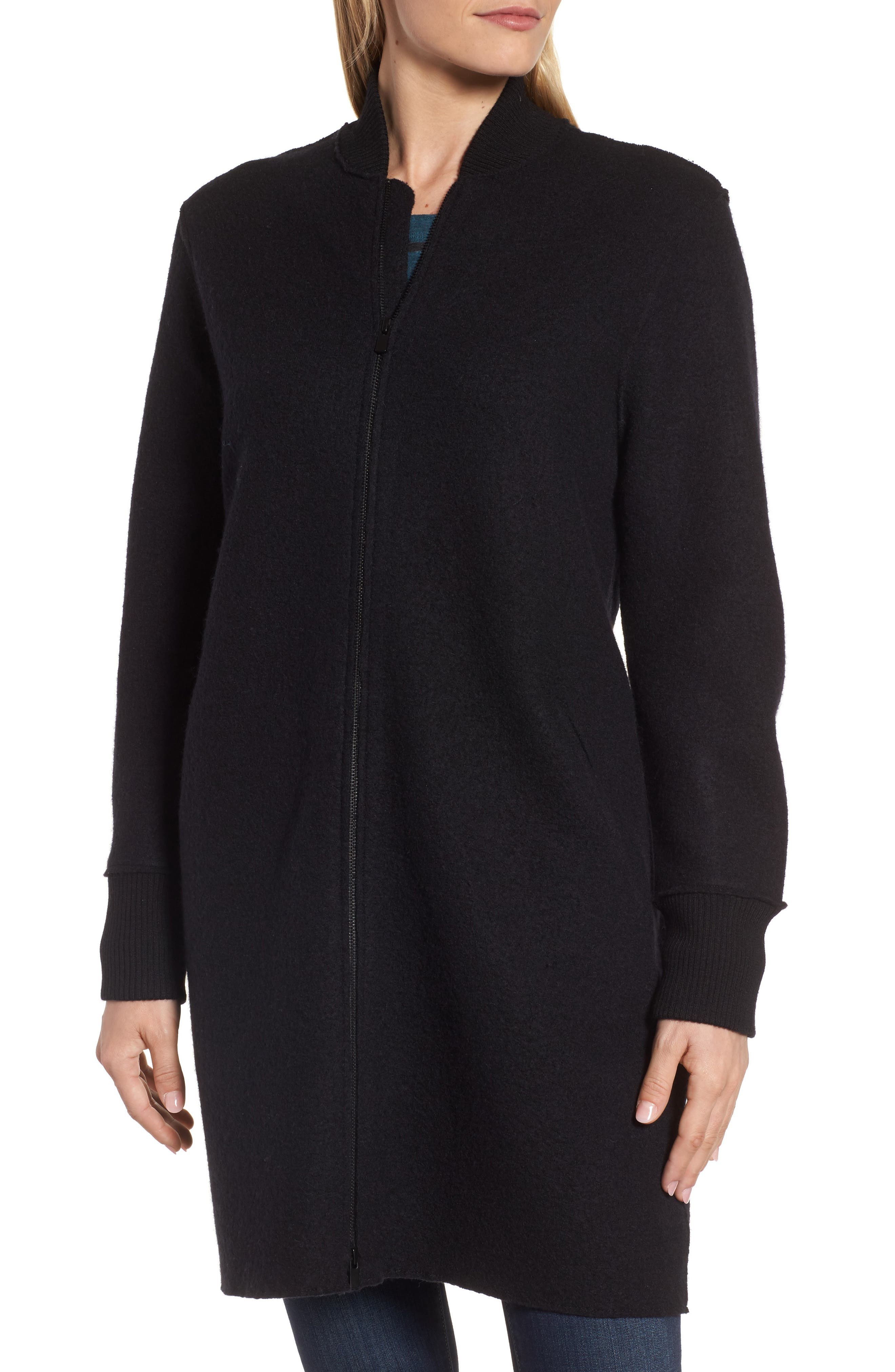 Boiled Wool Bomber Coat,                             Alternate thumbnail 4, color,                             Black