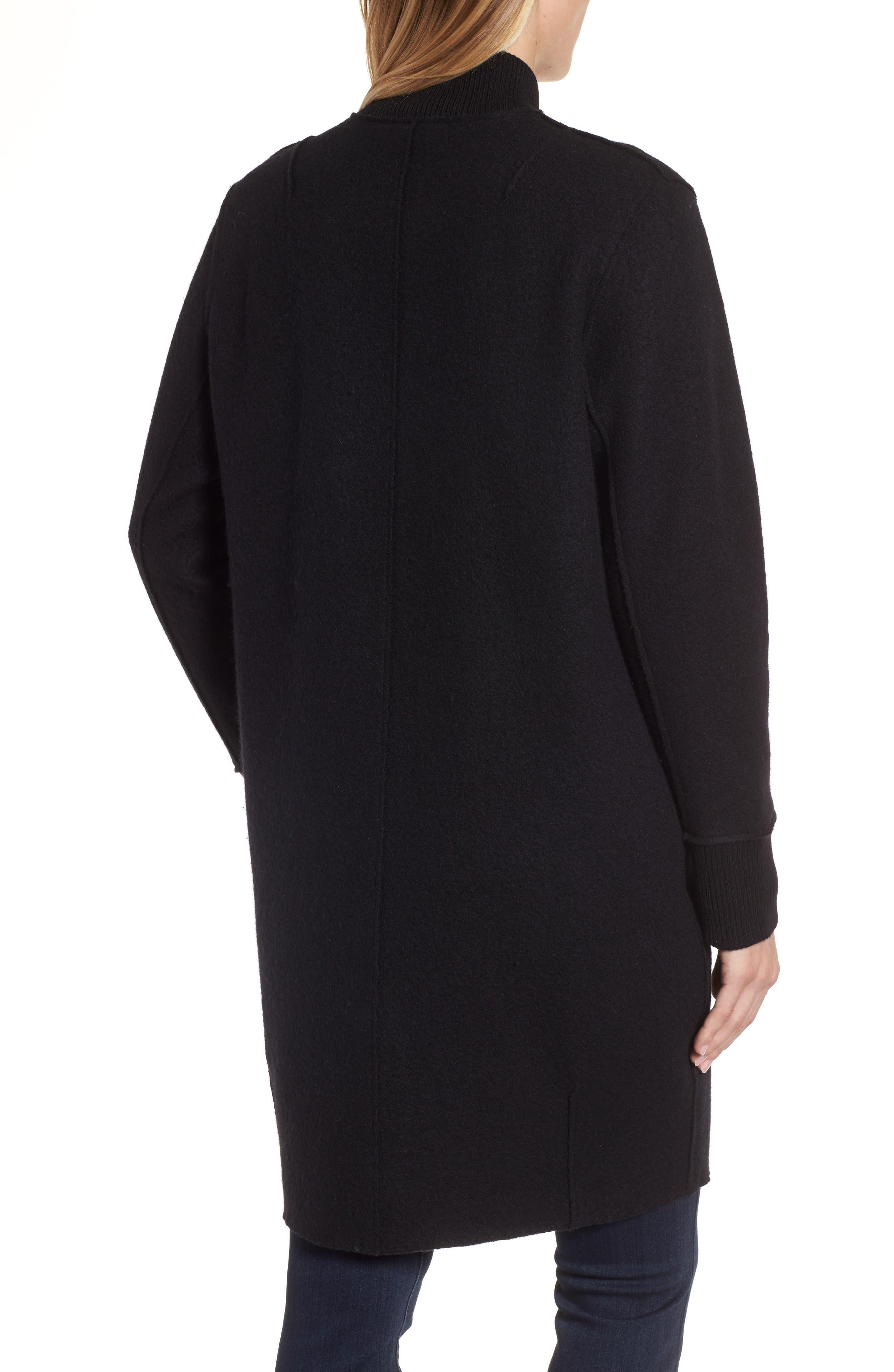 Boiled Wool Bomber Coat,                             Alternate thumbnail 2, color,                             Black