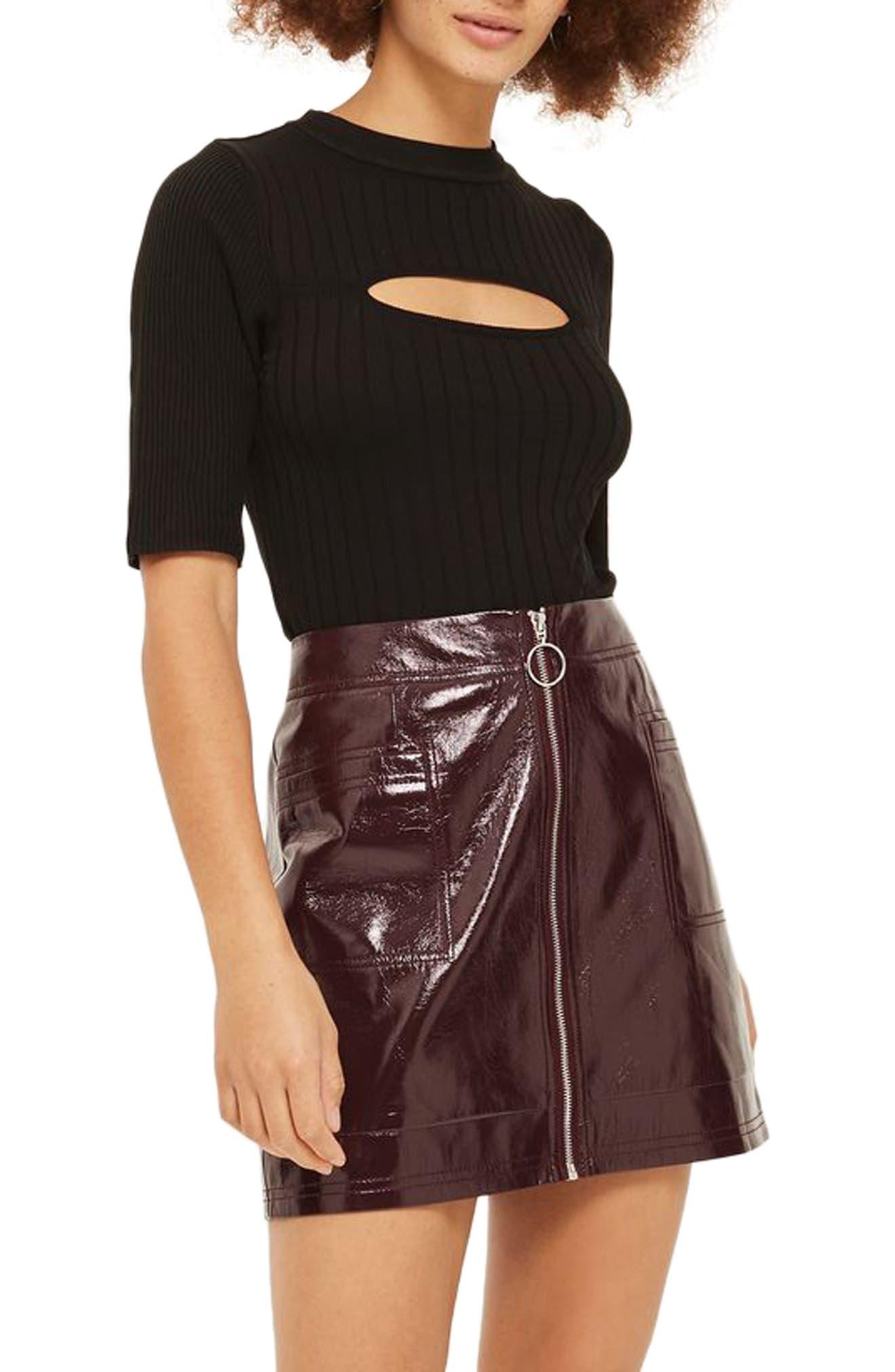Spliced Rib Knit Top,                         Main,                         color, Black