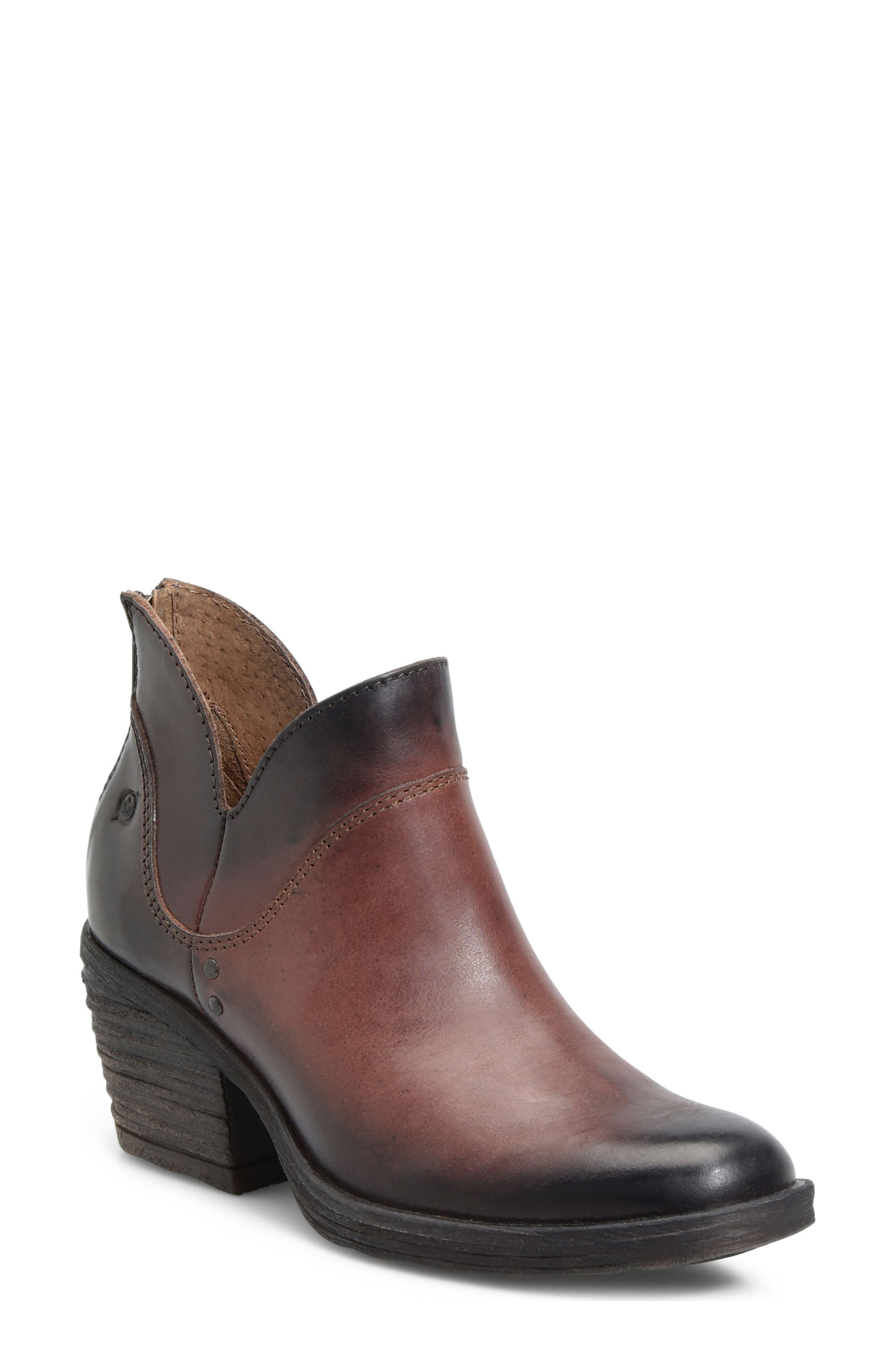 Chisel Bootie,                             Main thumbnail 1, color,                             Brown Leather