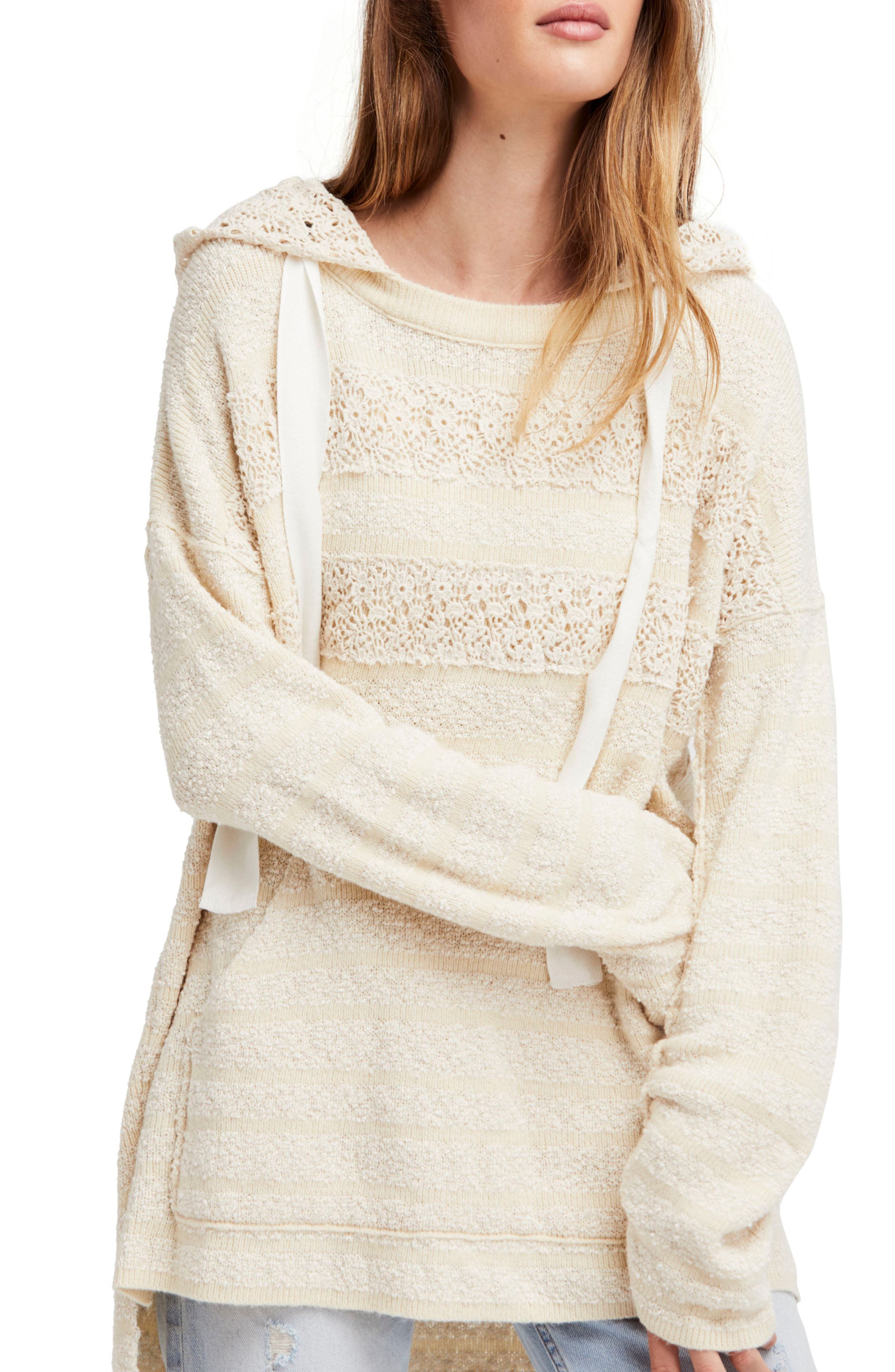 Candy Crochet Hoodie,                         Main,                         color, Ivory