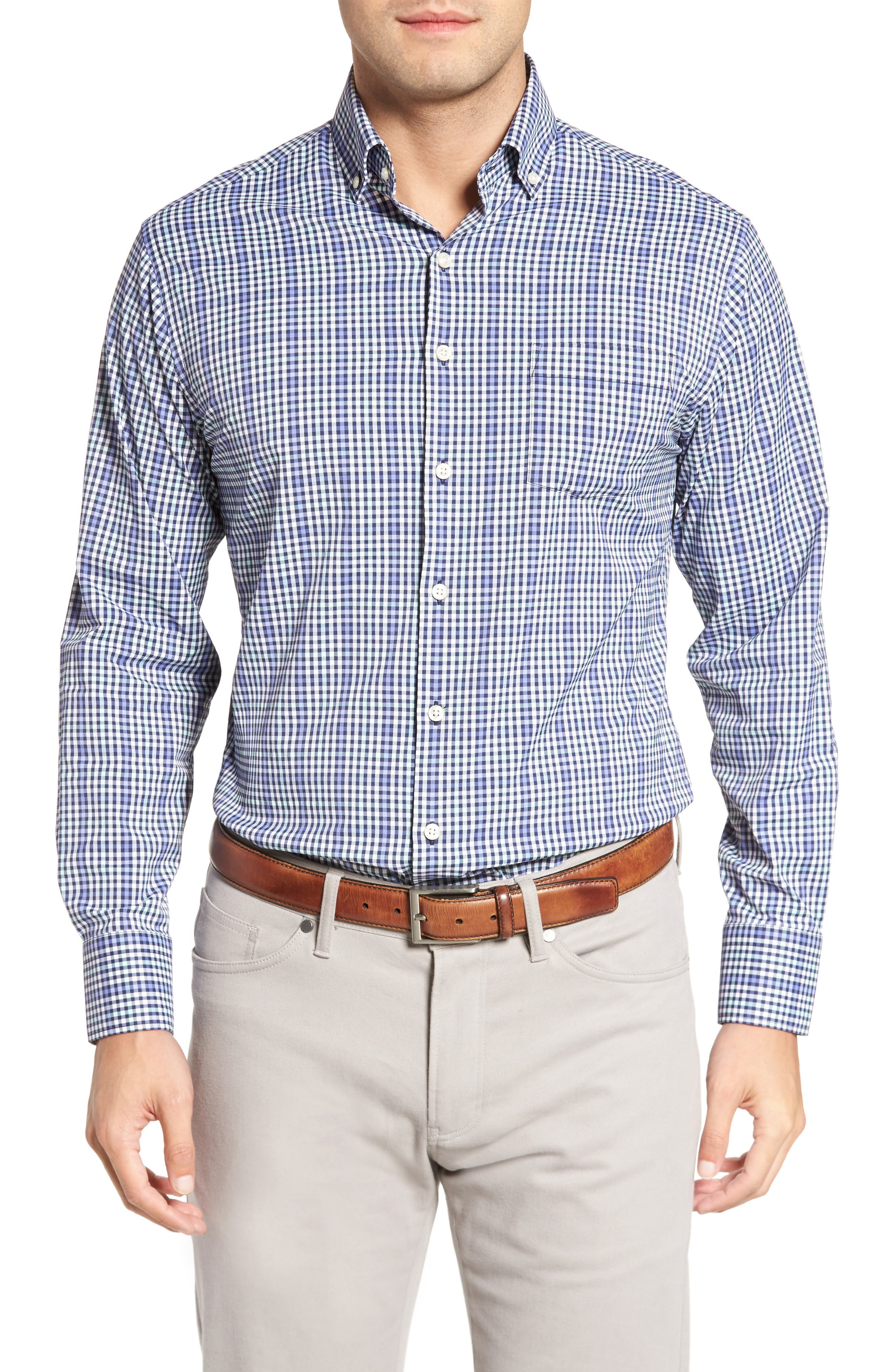 Classic Fit Collier Plaid Performance Sport Shirt,                             Main thumbnail 1, color,                             Thunderbird