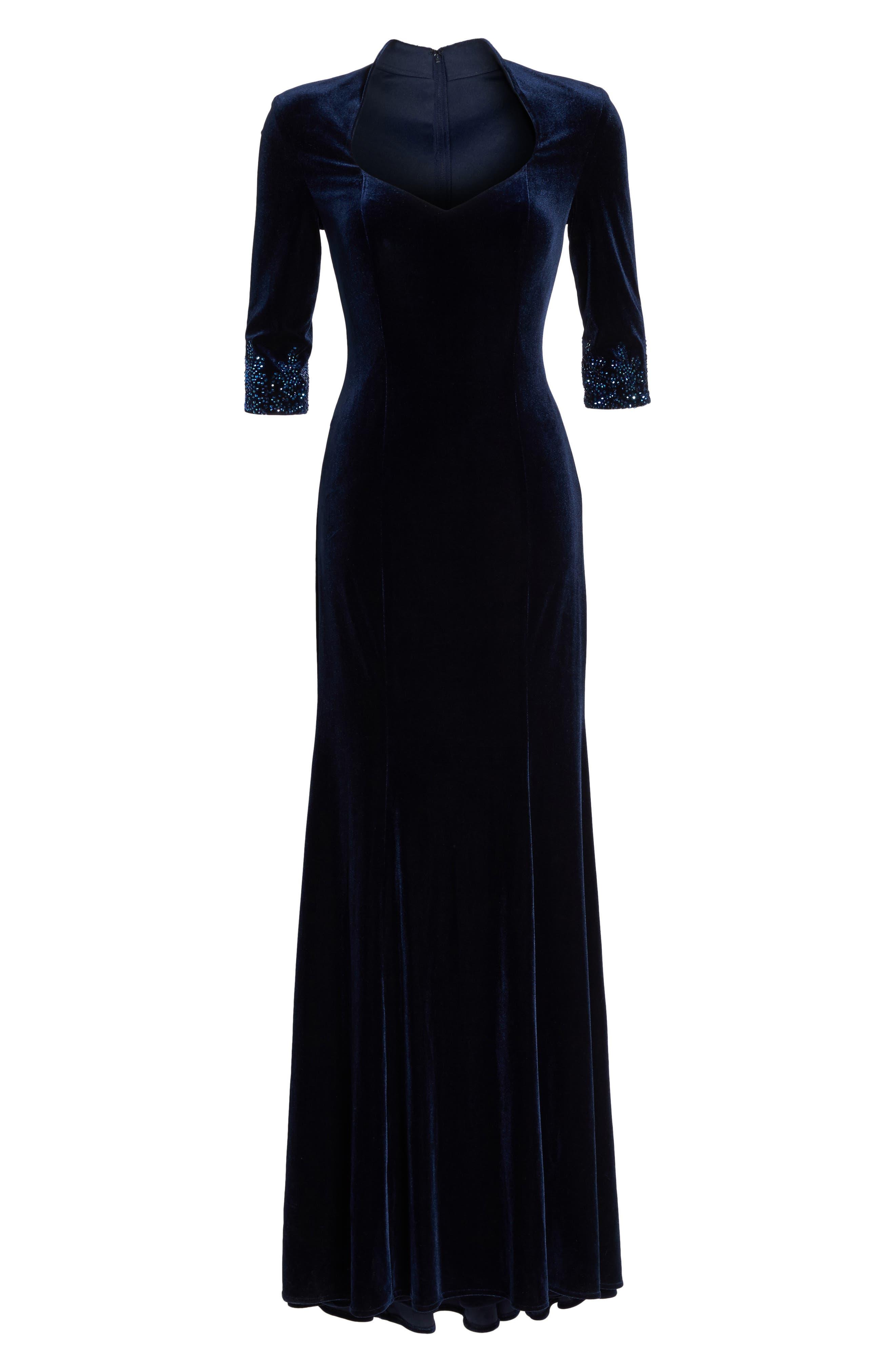 Velvet Gown,                             Alternate thumbnail 6, color,                             Navy