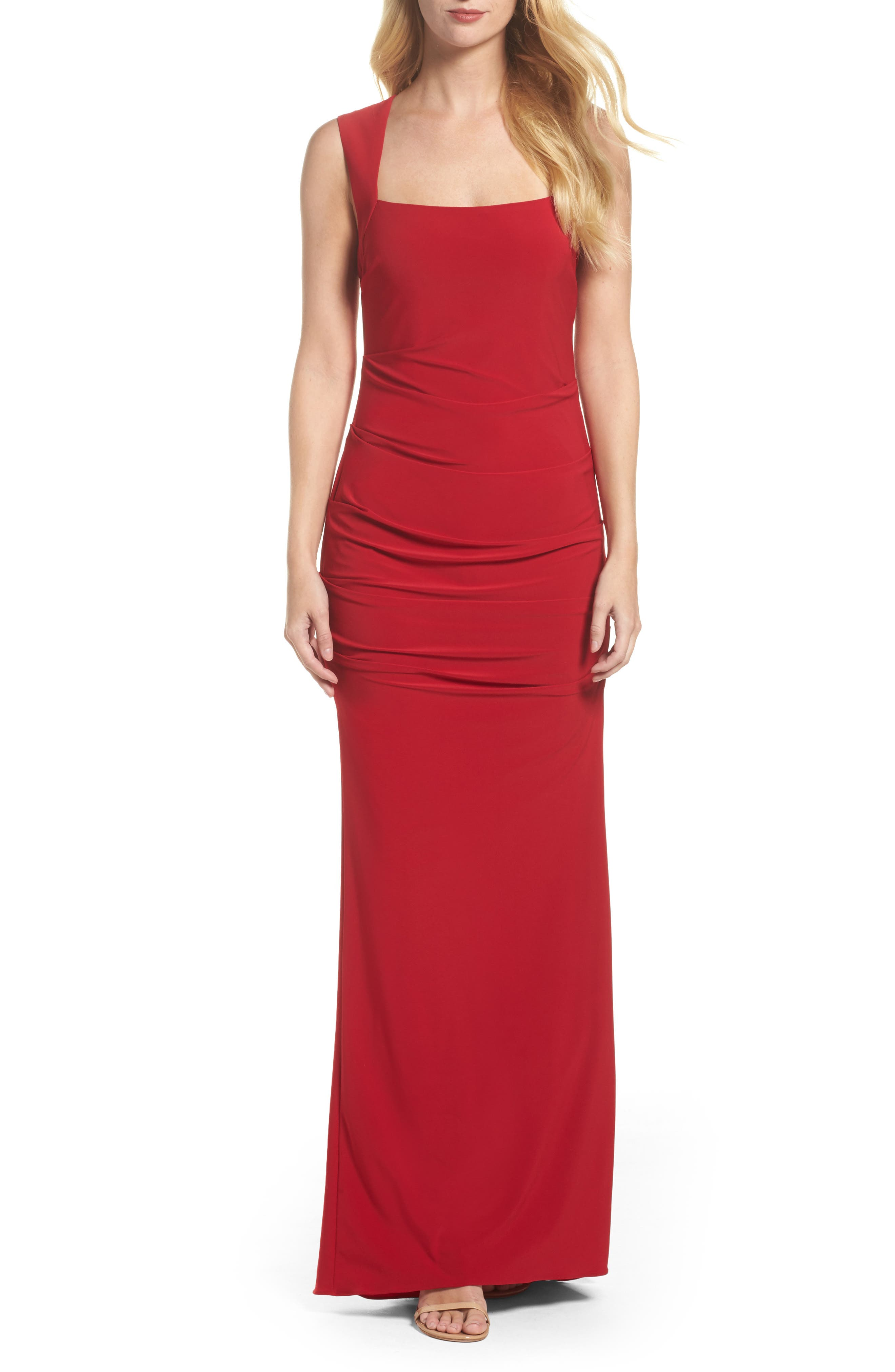 Square Neck Ruched Gown,                             Main thumbnail 1, color,                             Cardinal