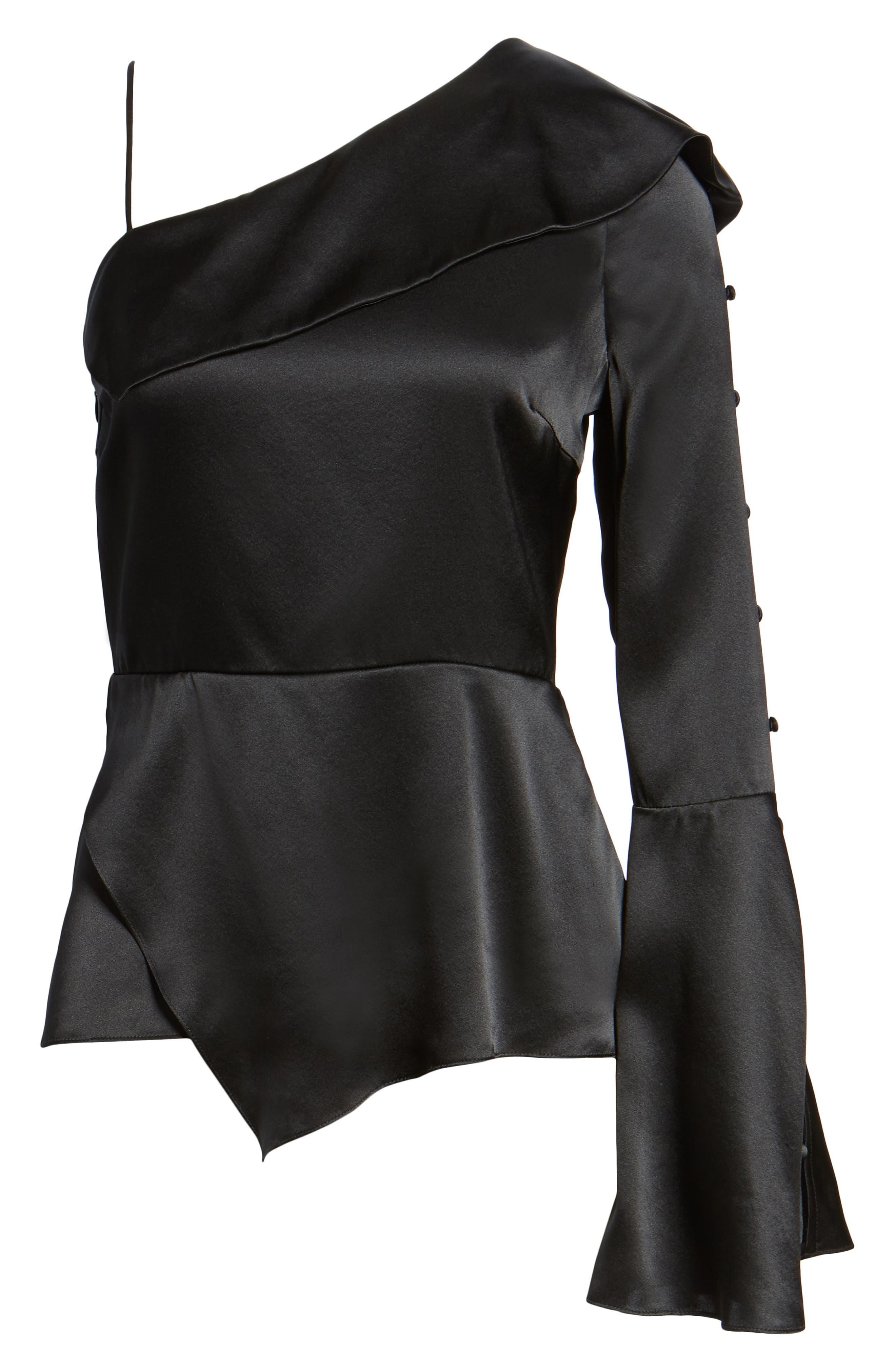 Cache One-Shoulder Silk Blouse,                             Alternate thumbnail 6, color,                             Black