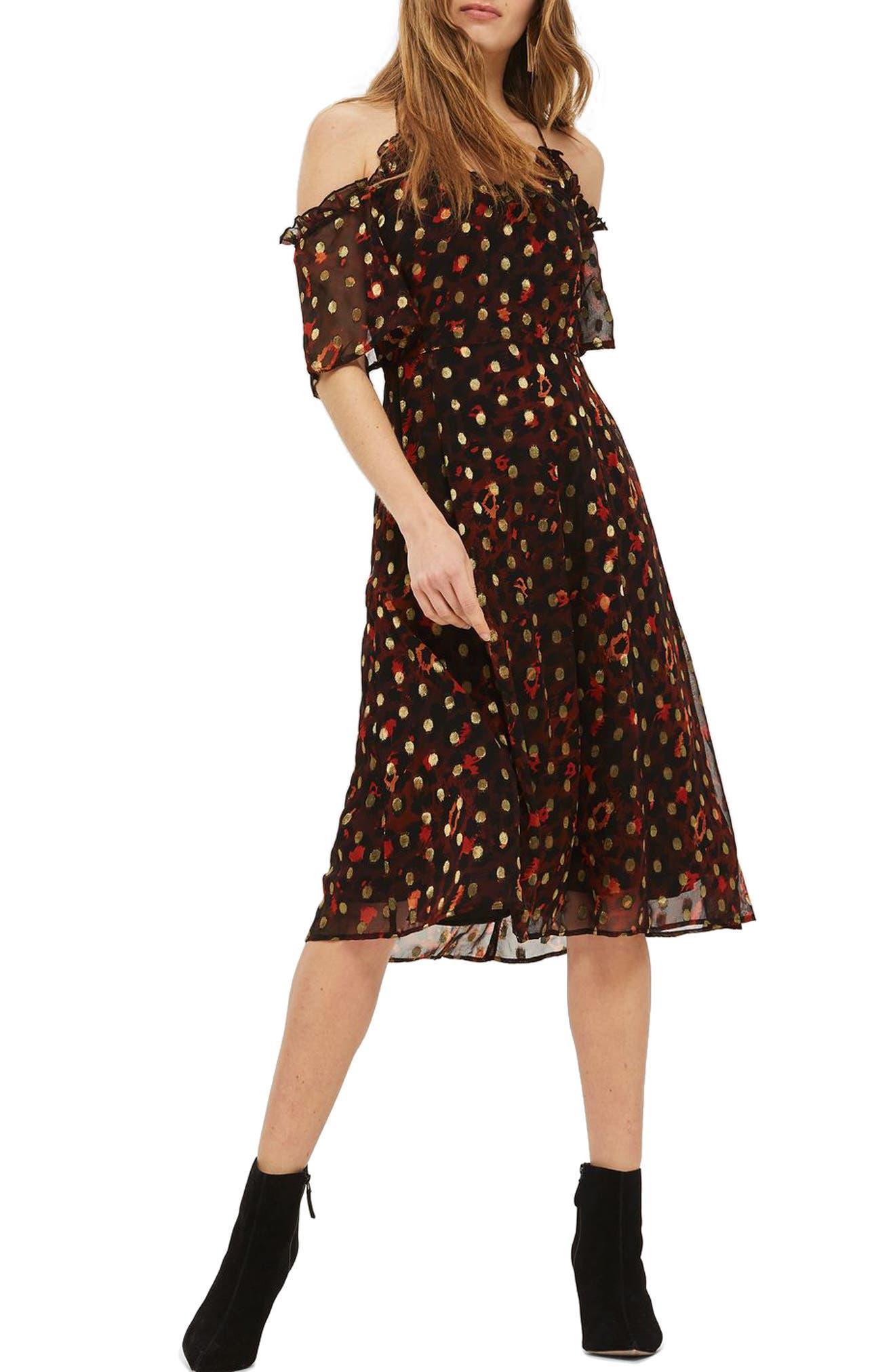 Leopard Polka Dot Cold Shoulder Dress,                             Main thumbnail 1, color,                             Red Multi