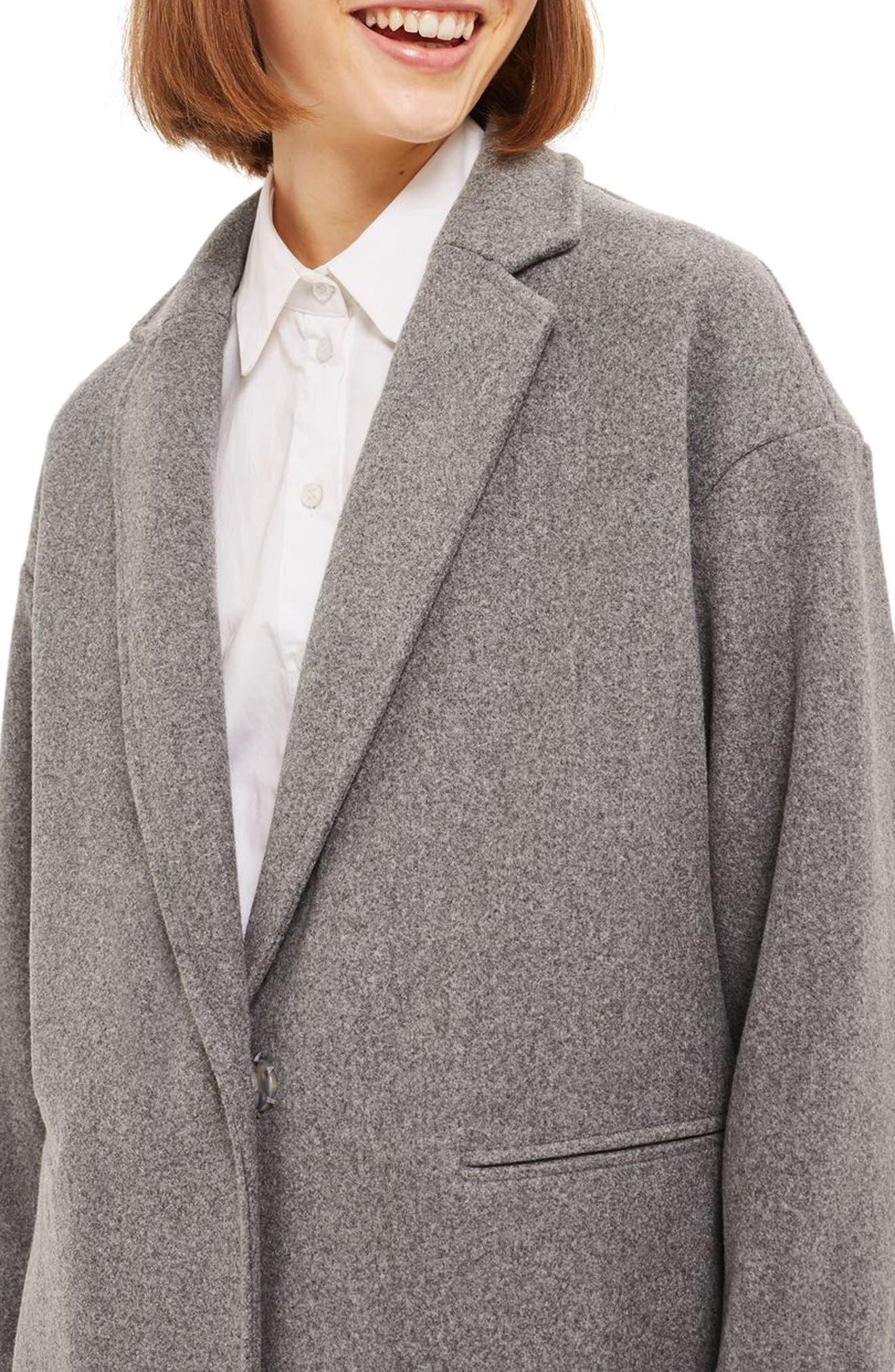 Bonded Knit Coat,                             Alternate thumbnail 3, color,                             Grey