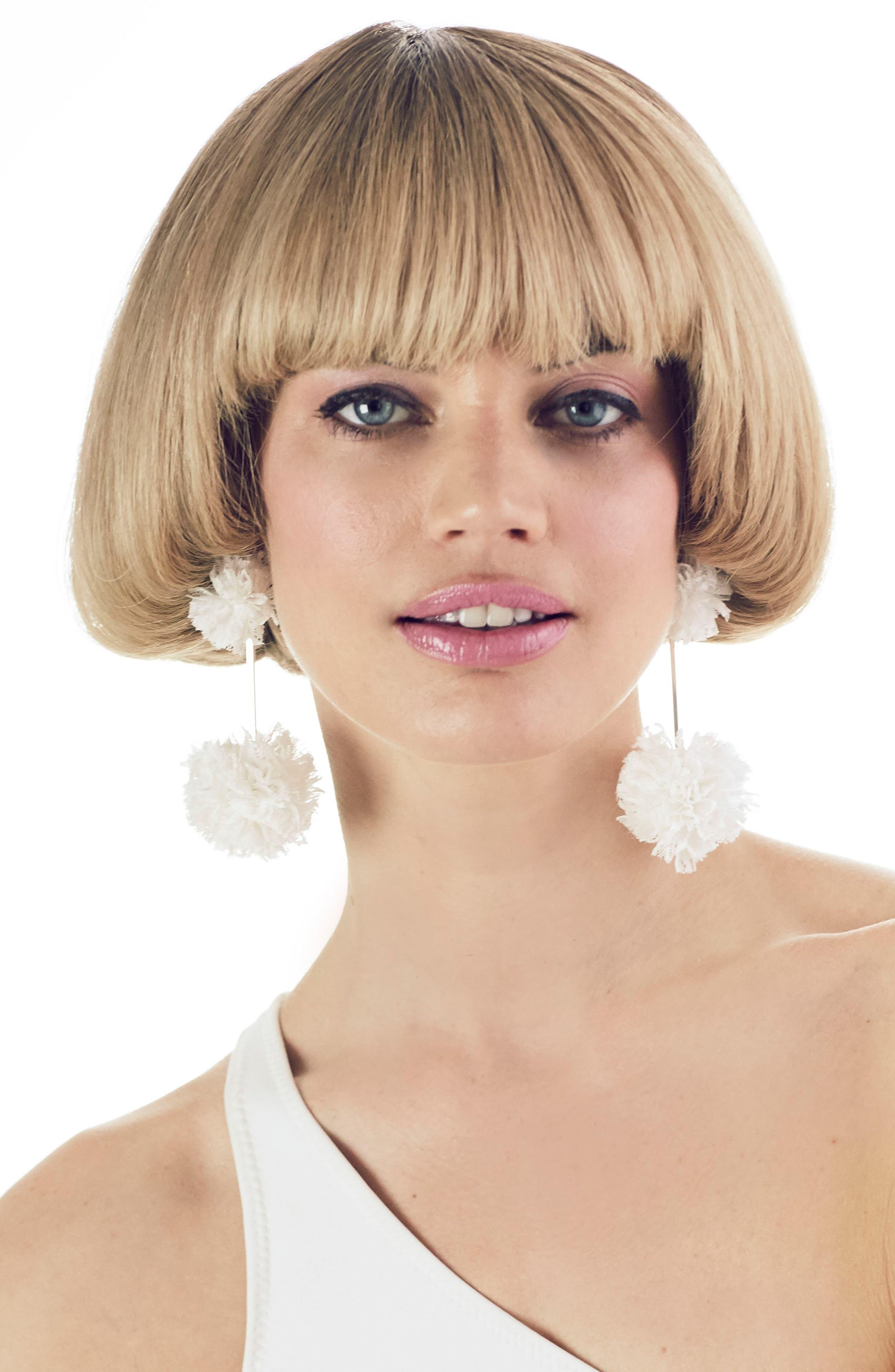 Double Lace Pom Pom Earrings,                             Alternate thumbnail 2, color,                             Gold/ White