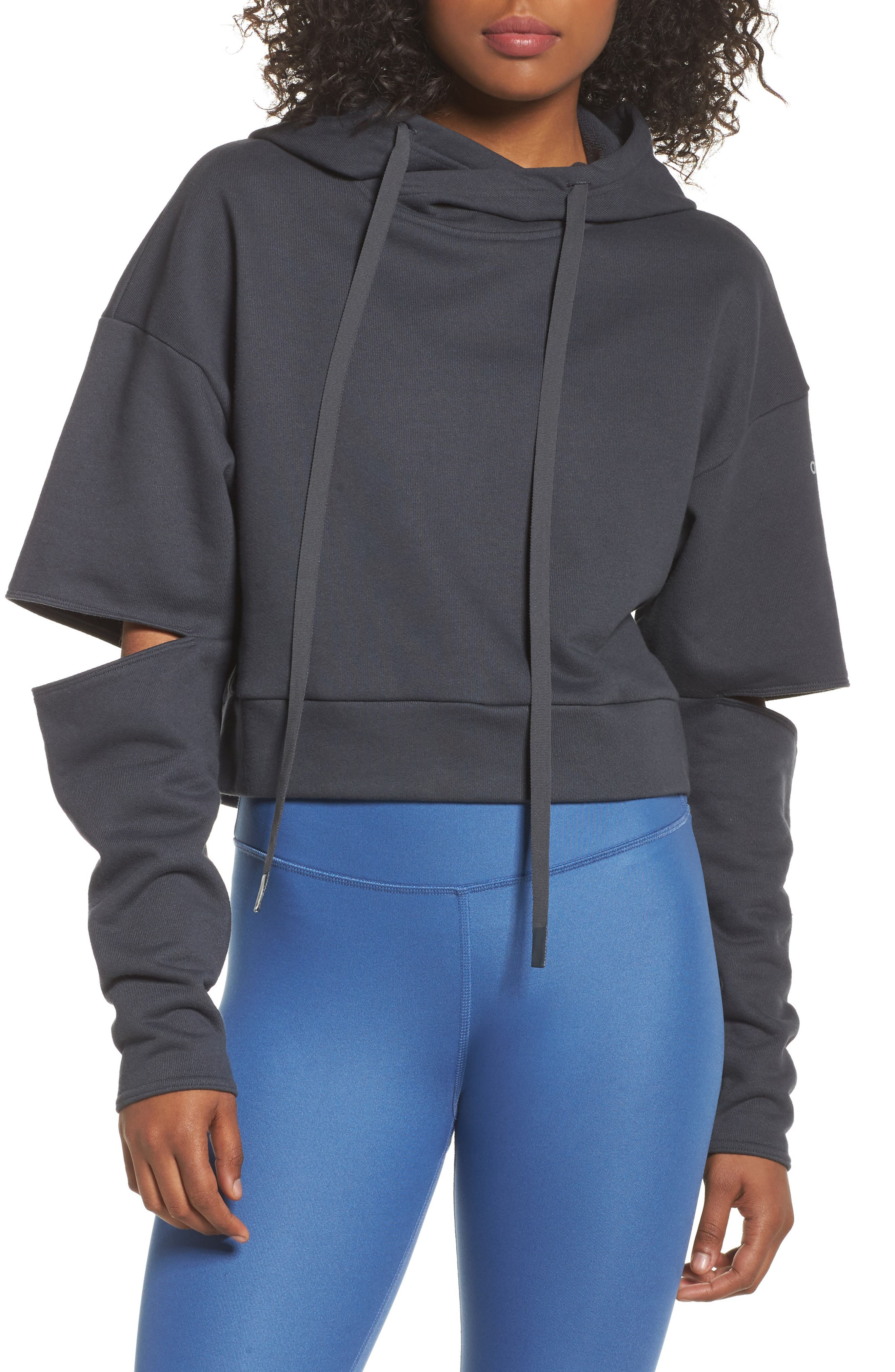 Peak Cutout Long Sleeve Pullover Crop Hoodie,                         Main,                         color, Anthracite
