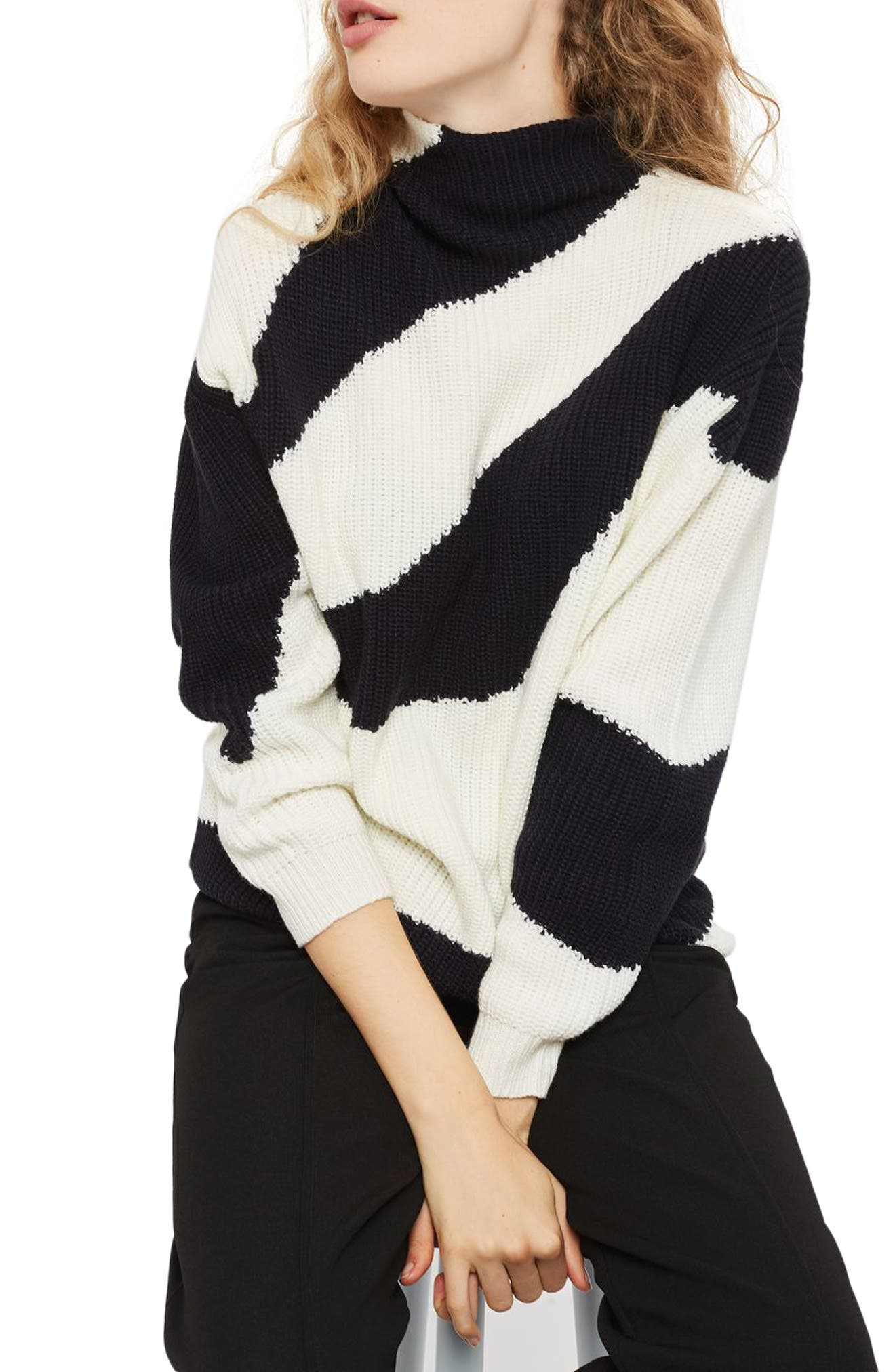 Patterned Funnel Neck Sweater,                         Main,                         color, Navy Blue Multi