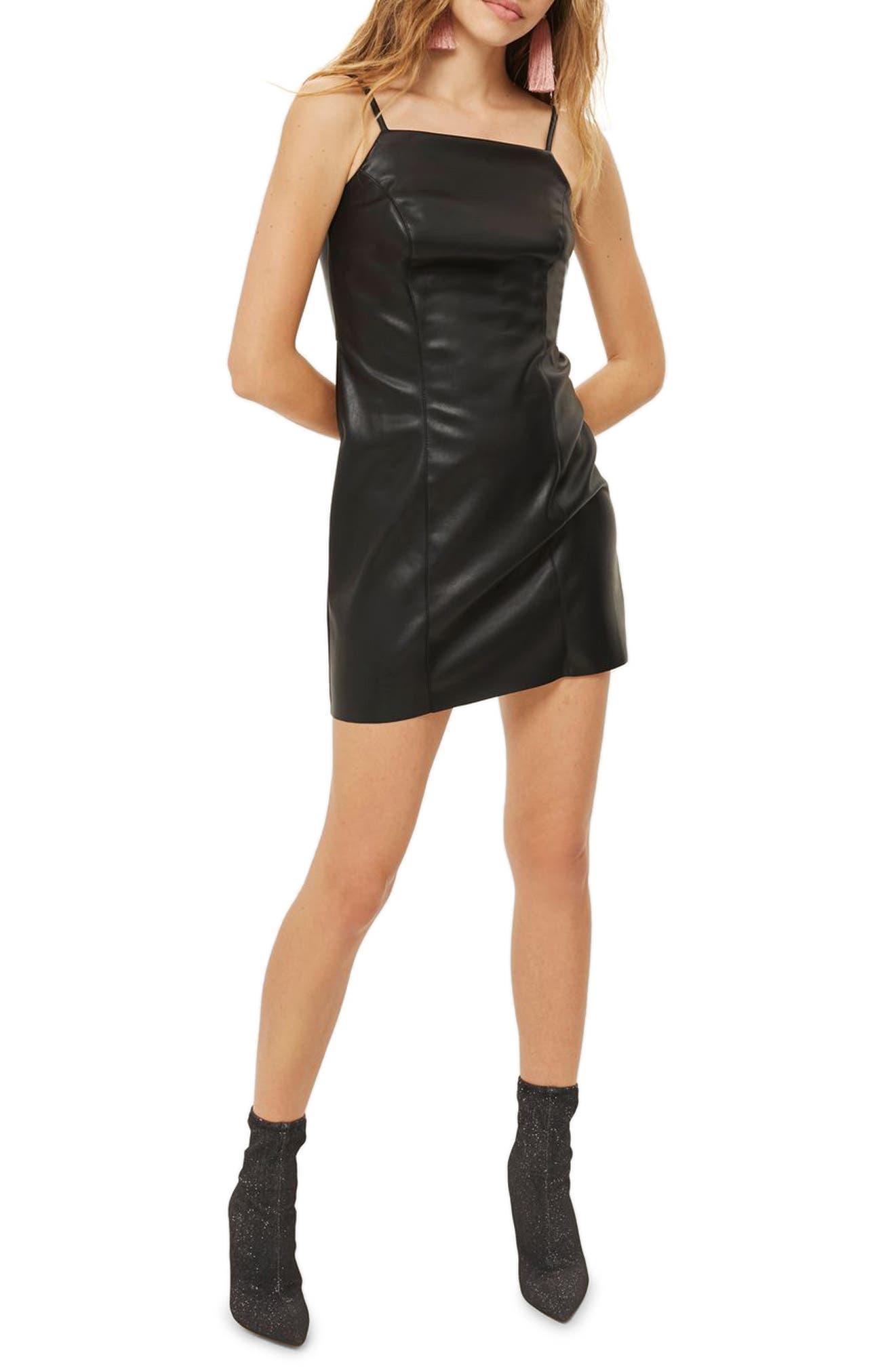 Faux Leather Minidress,                         Main,                         color, Black
