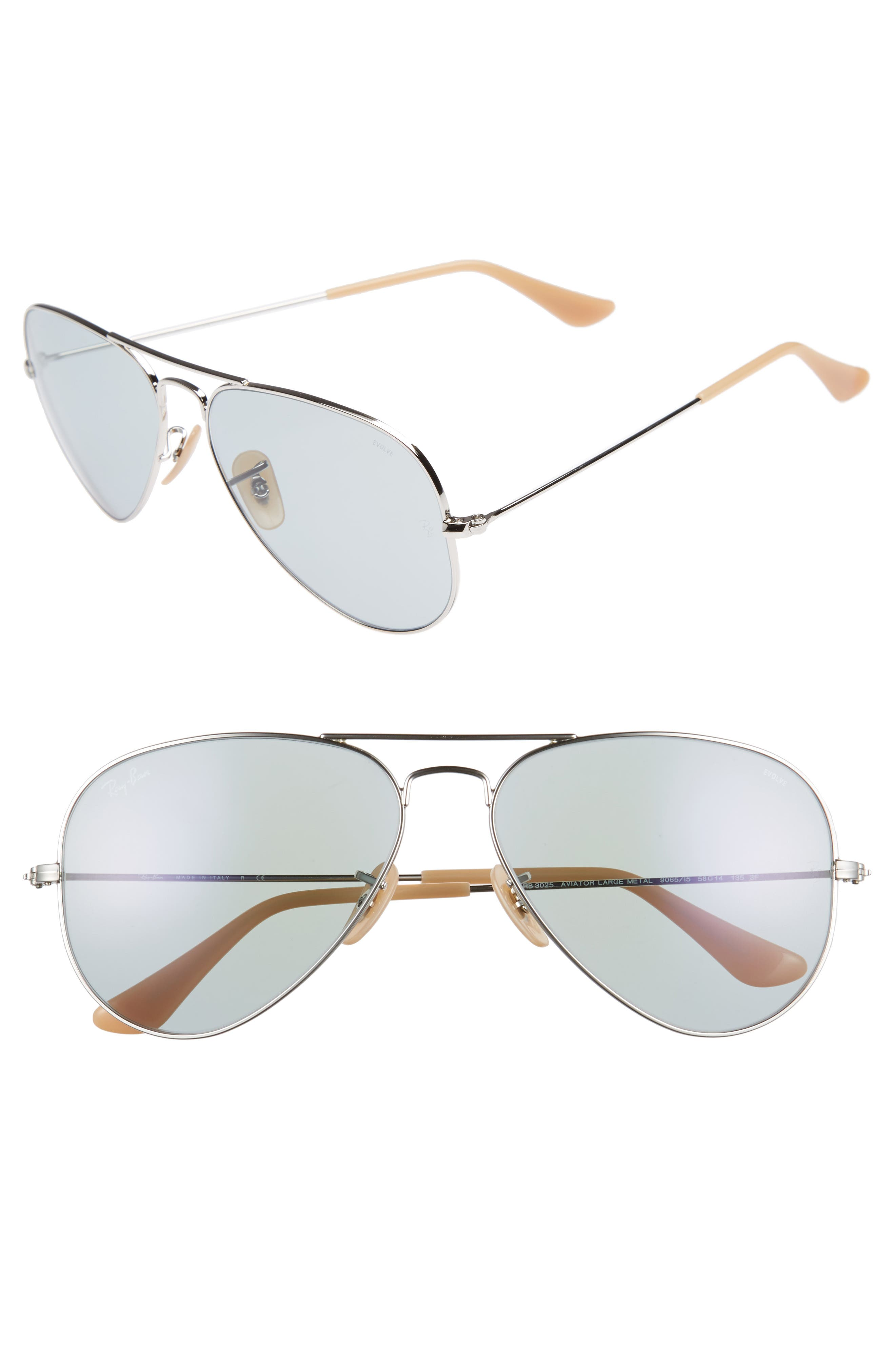 58mm Photochromic Aviator Sunglasses,                         Main,                         color, Silver Blue