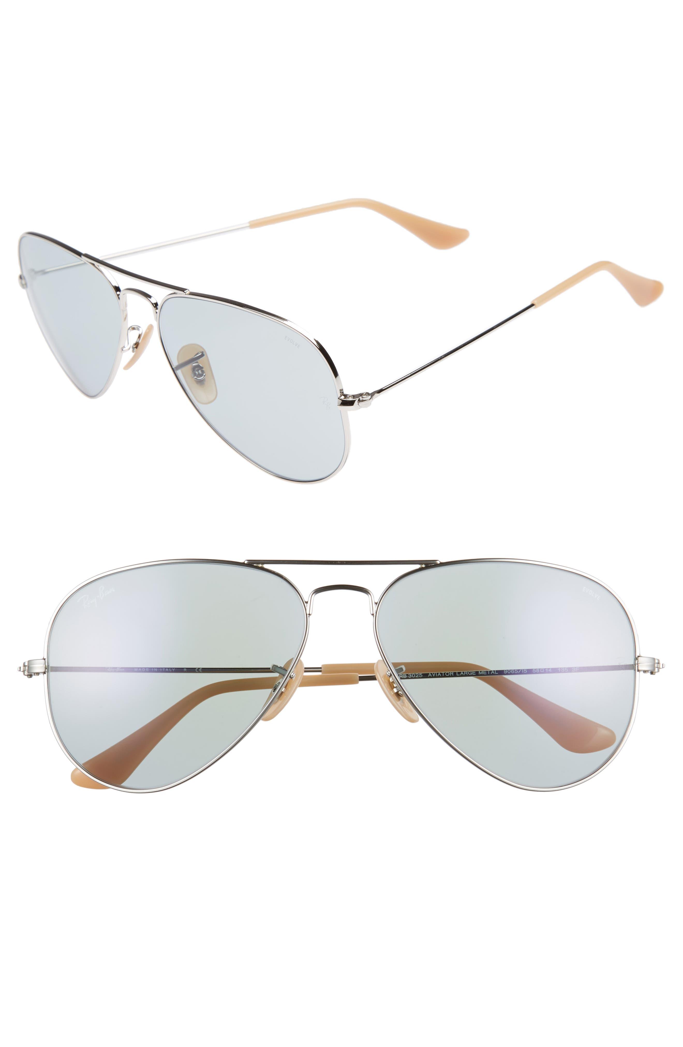 58mm Photochromic Aviator Sunglasses,                         Main,                         color, Silver Blue