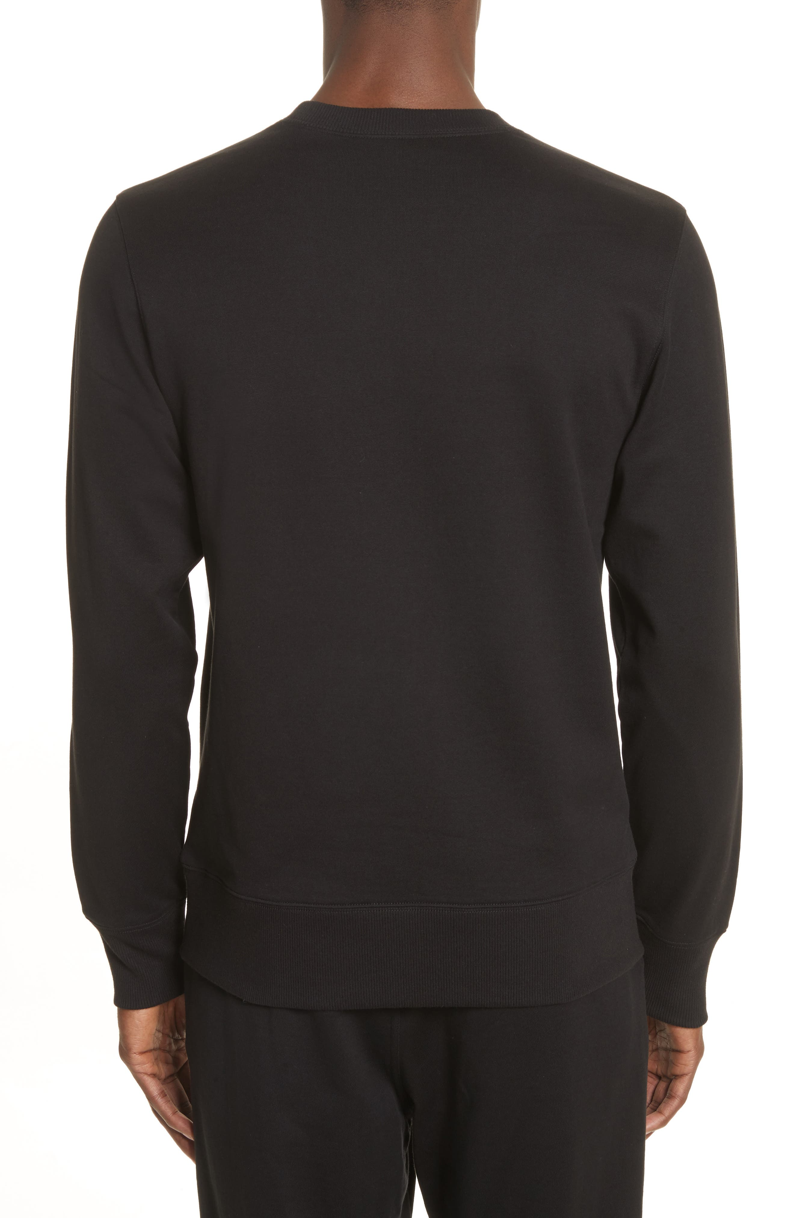 Logo Print Crewneck Sweatshirt,                             Alternate thumbnail 2, color,                             Black
