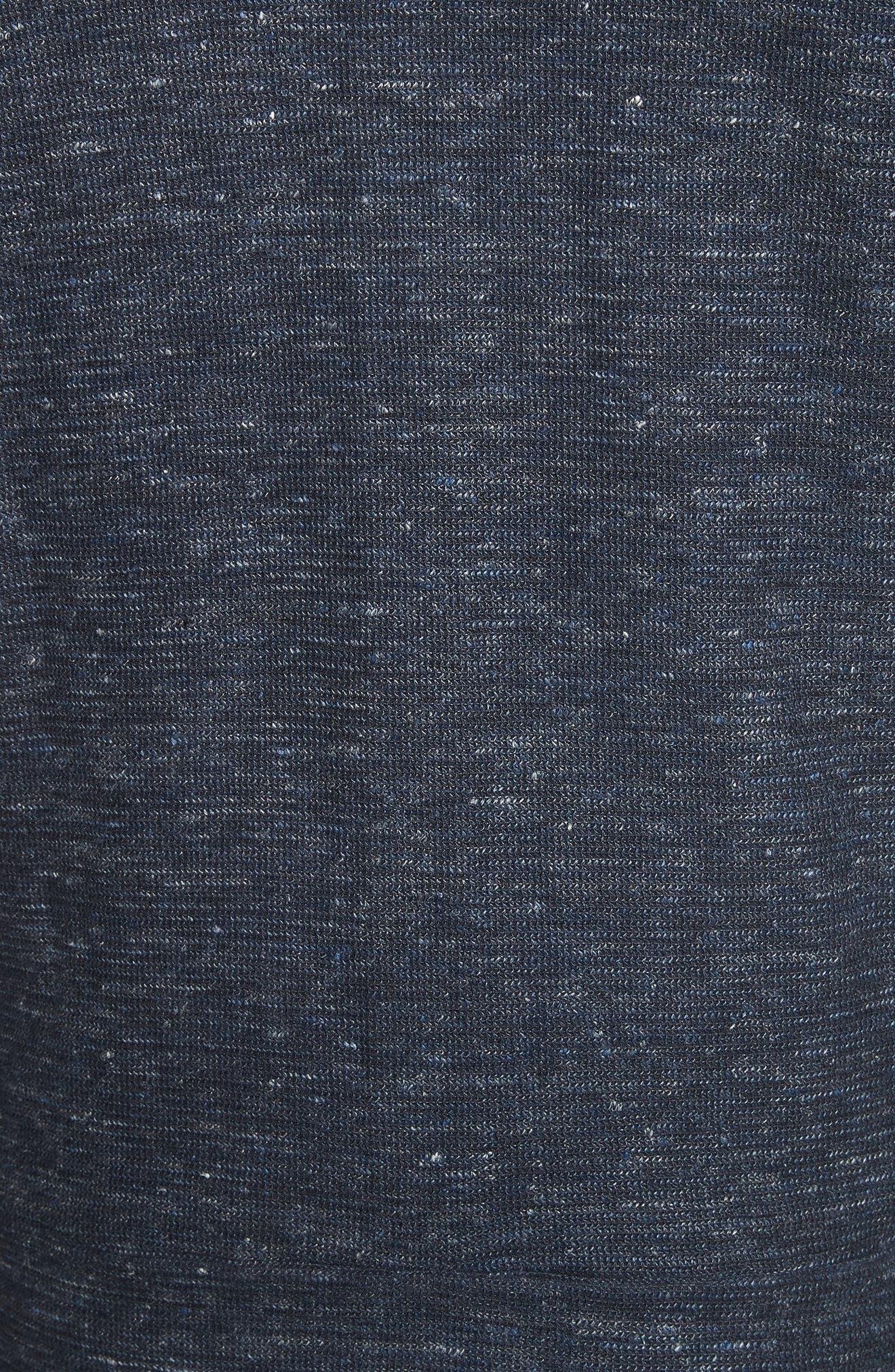 Cotton & Linen Zip Hoodie,                             Alternate thumbnail 5, color,                             Navy