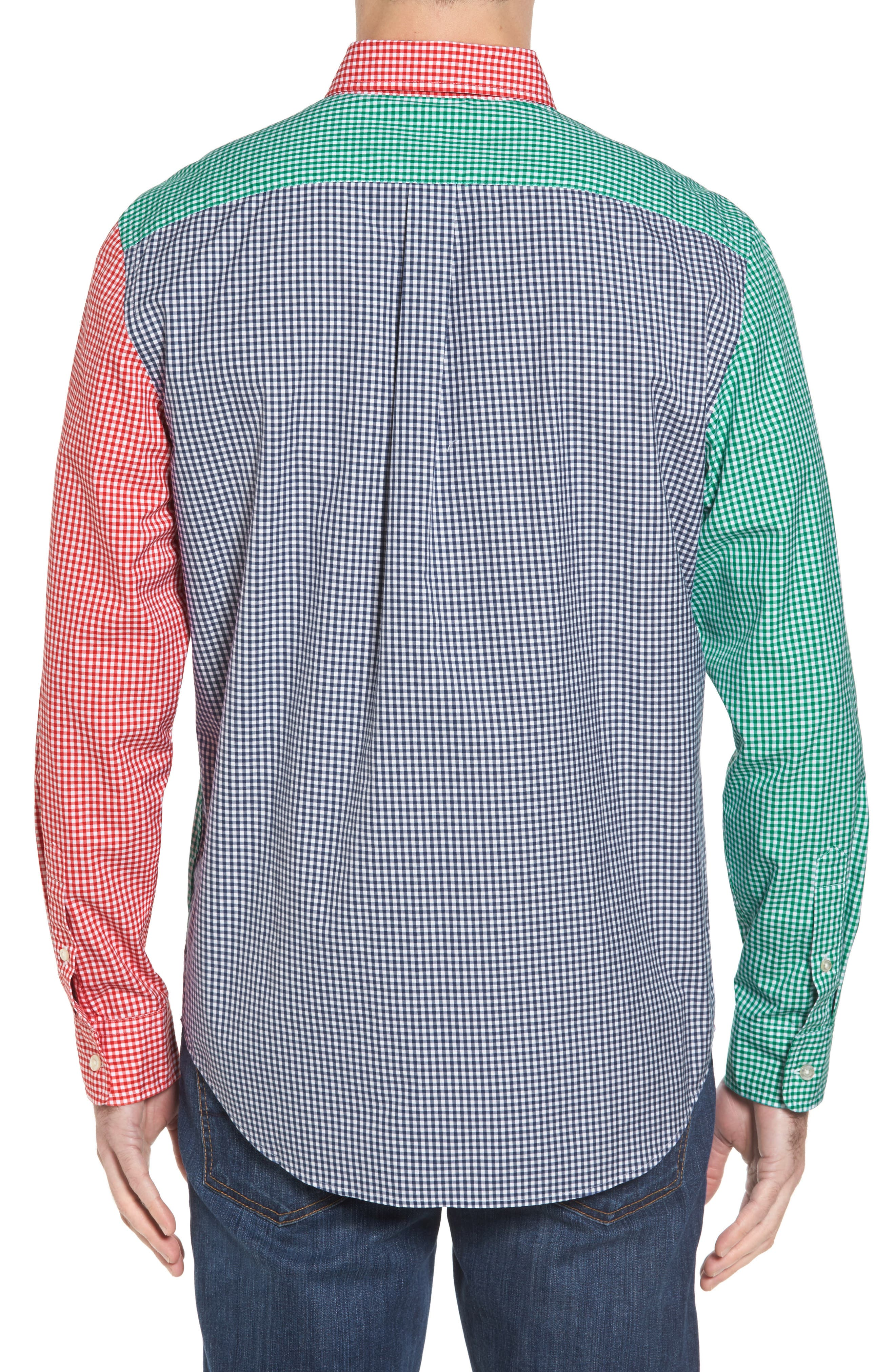 Alternate Image 2  - vineyard vines Holiday Party Classic Fit Colorblock Sport Shirt