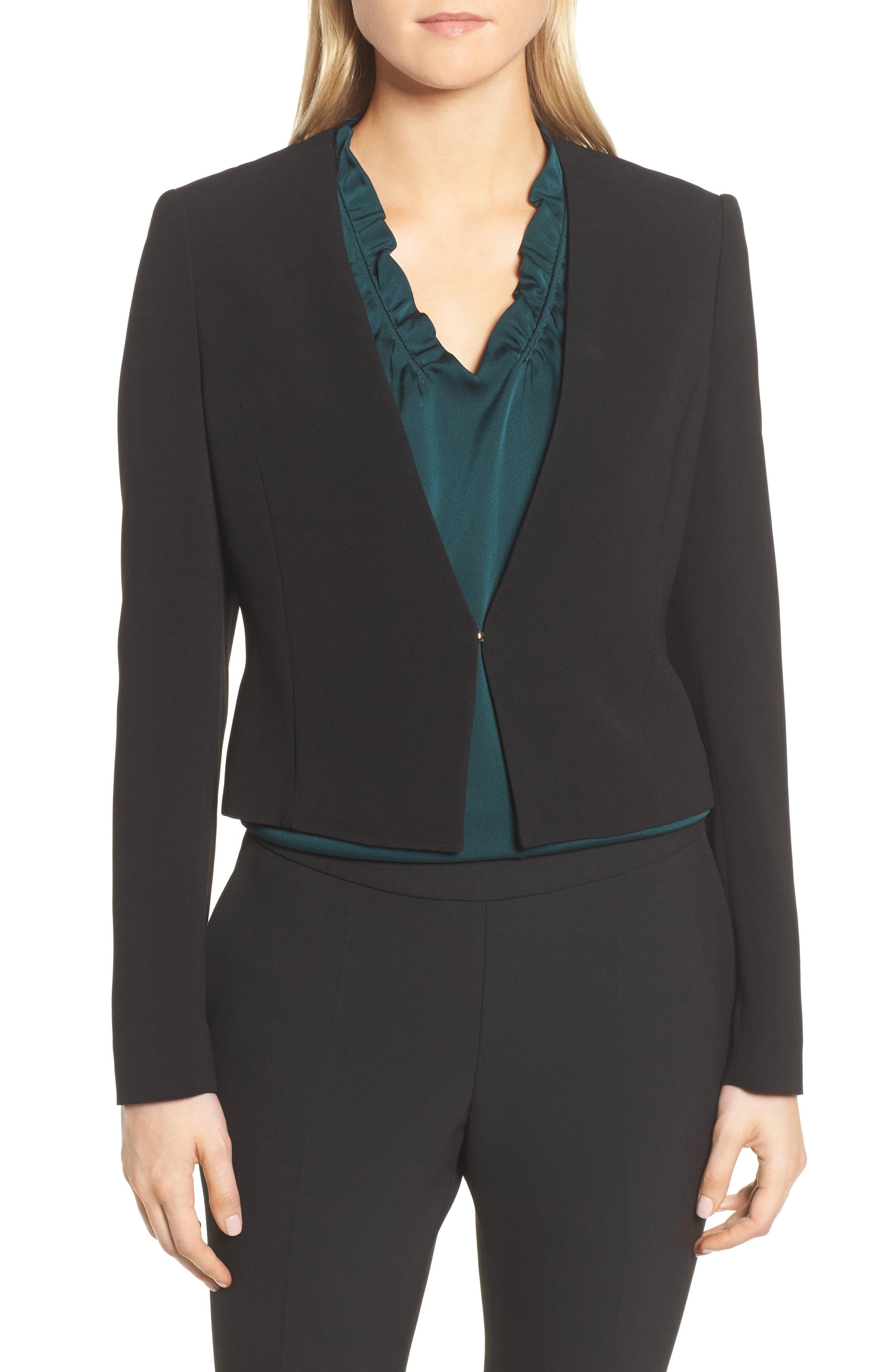 Main Image - BOSS Jisuneri Crop Blazer (Regular & Petite)