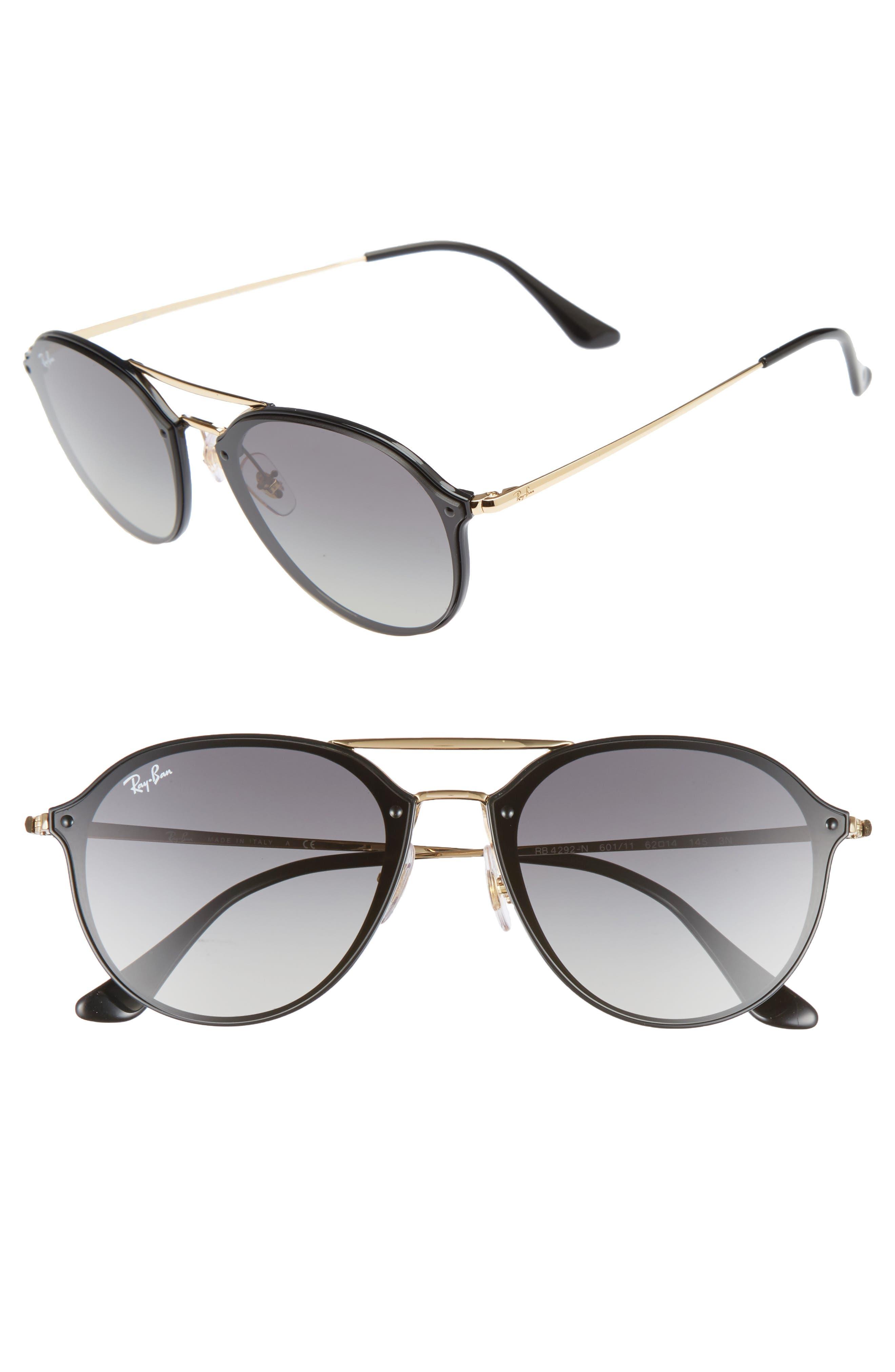 62mm Gradient Lens Aviator Sunglasses,                         Main,                         color, Black