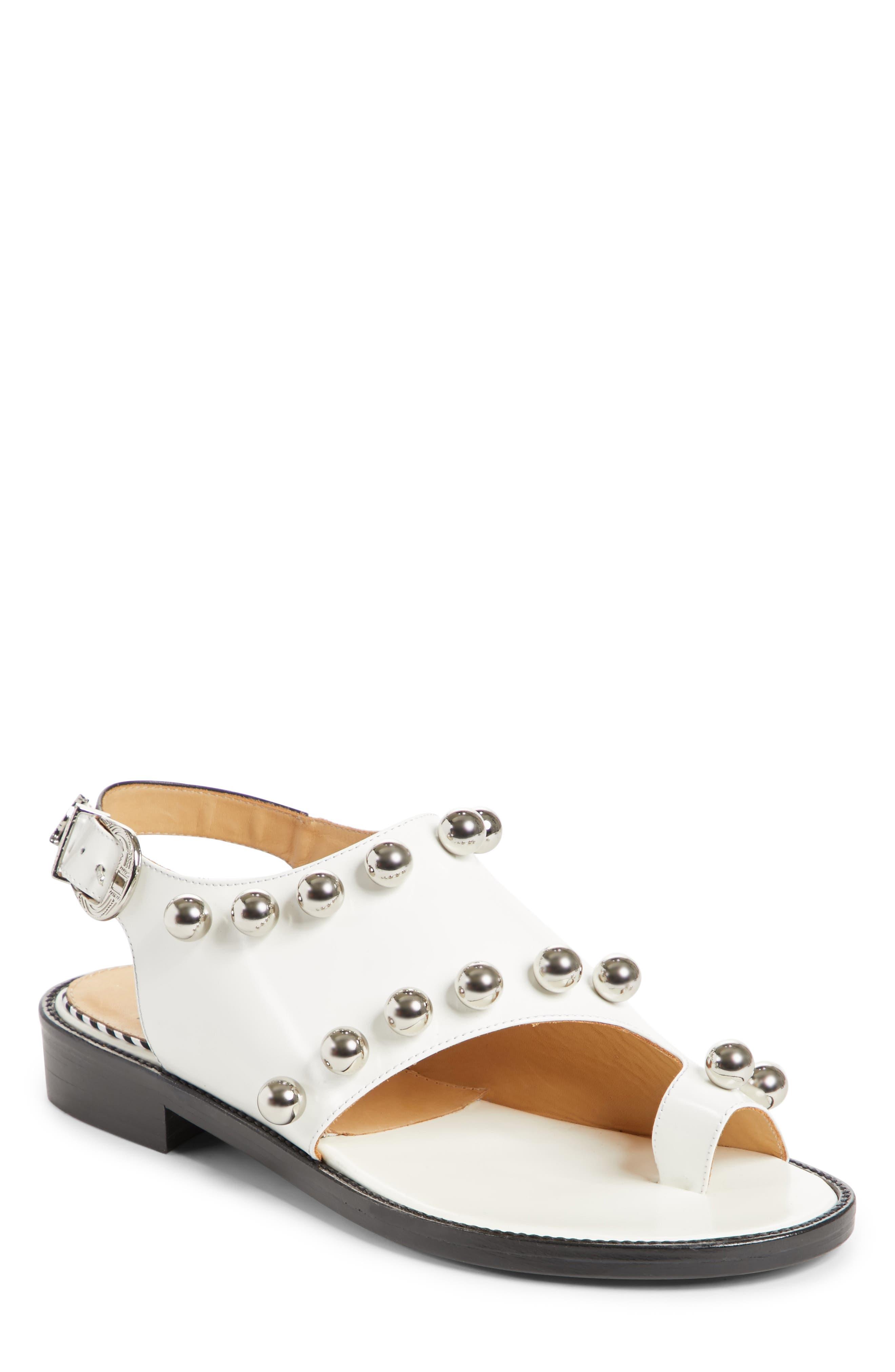 Round Stud Sandal,                         Main,                         color, White Polido