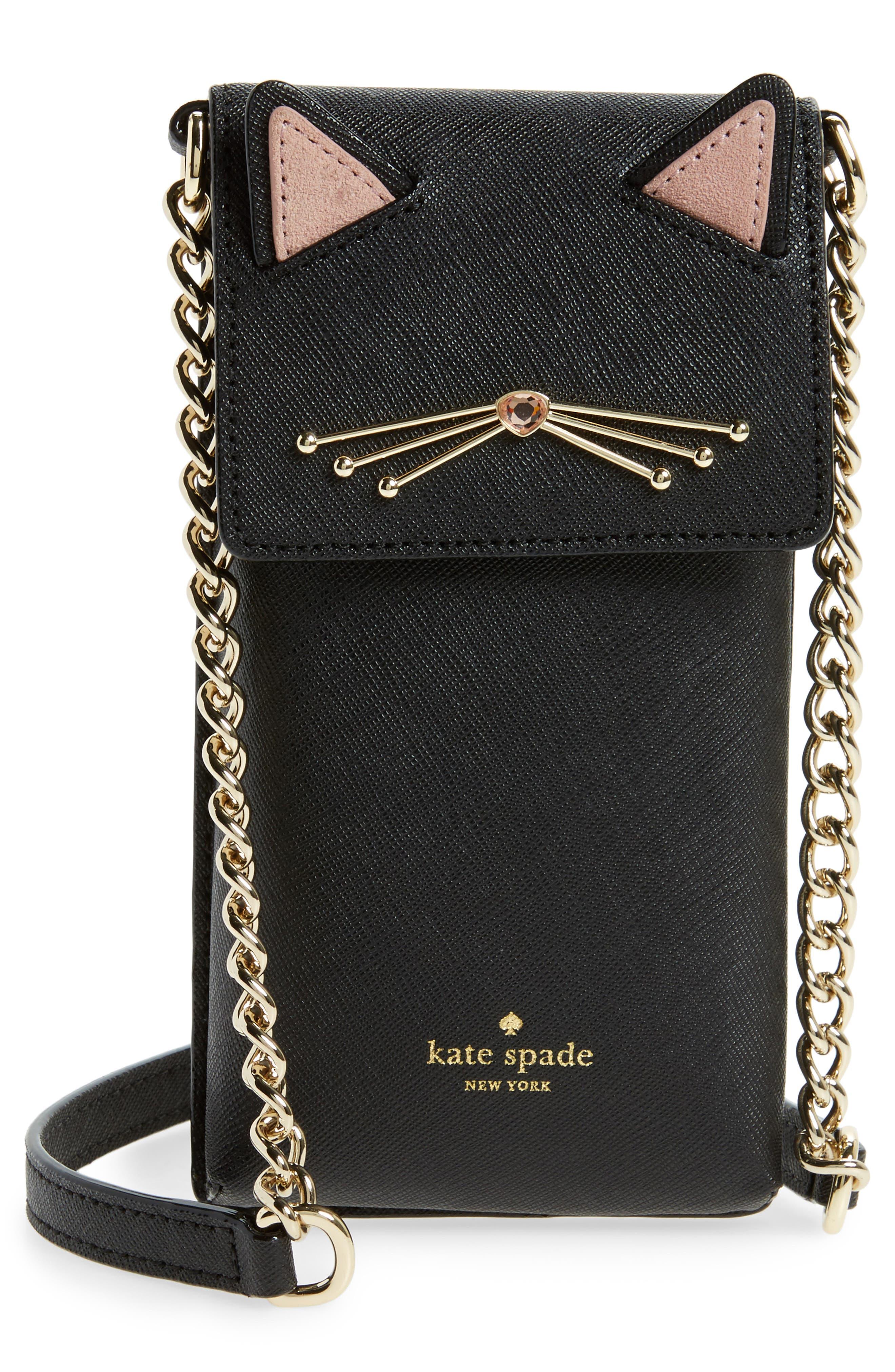 cat smartphone crossbody bag,                             Main thumbnail 1, color,                             Black