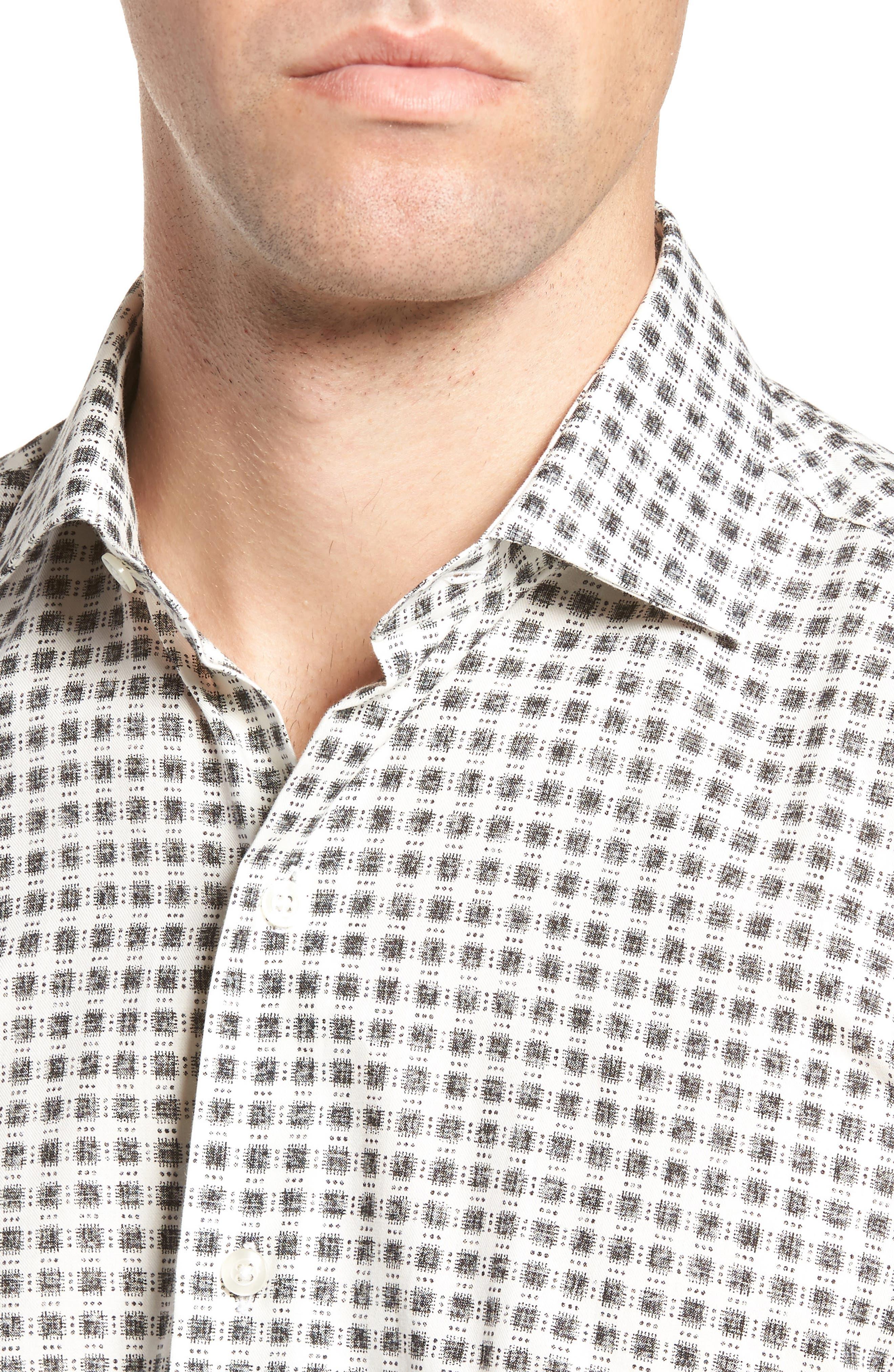 Square Print Sport Shirt,                             Alternate thumbnail 4, color,                             White