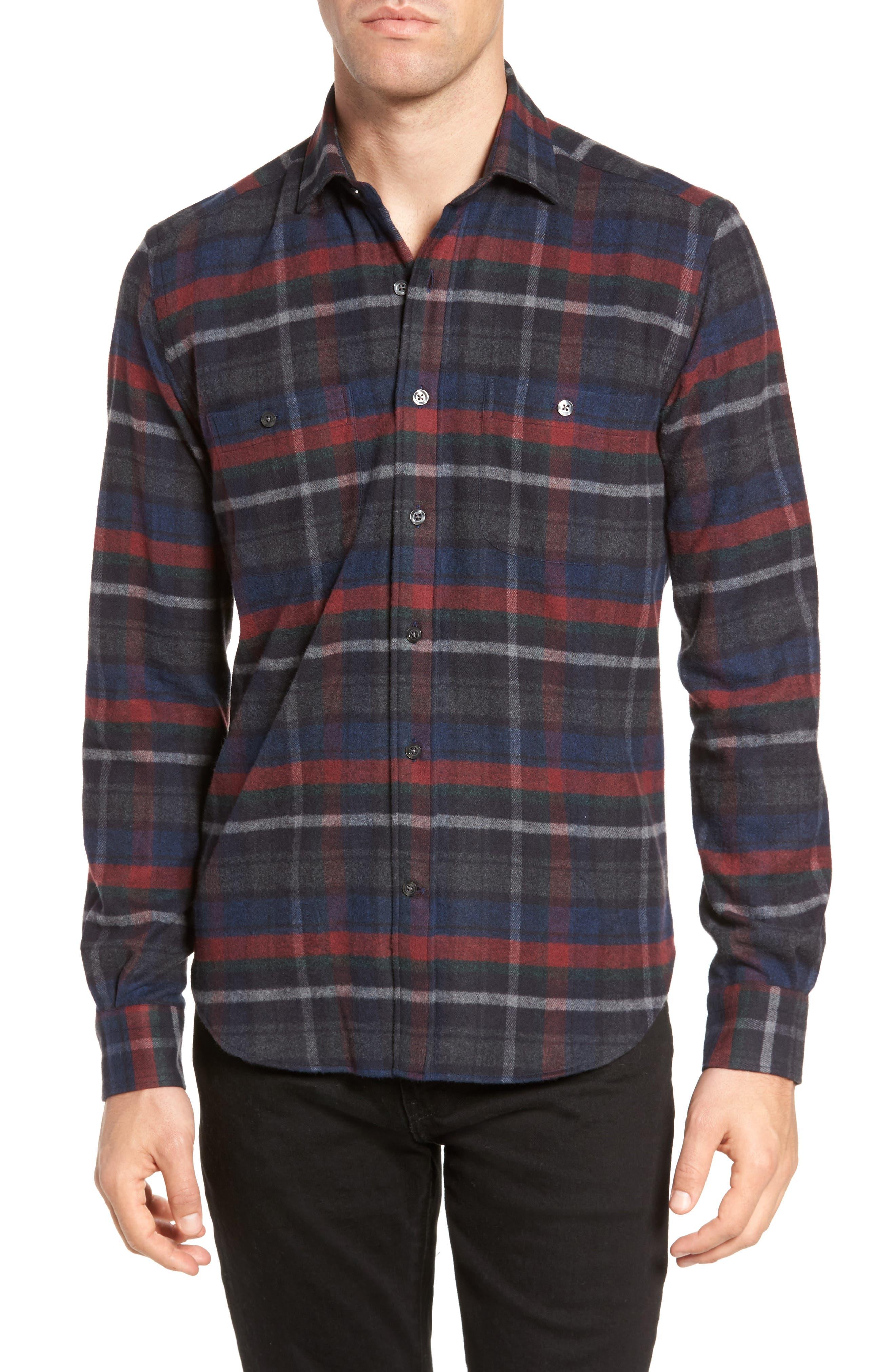 Plaid Flannel Sport Shirt,                         Main,                         color, Charcoal