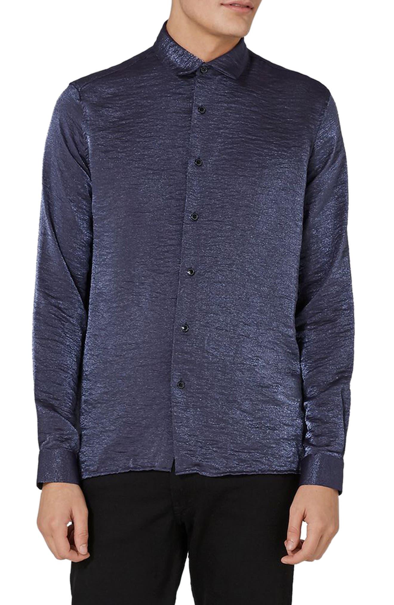 Main Image - Topman Classic Fit Glitter Shirt