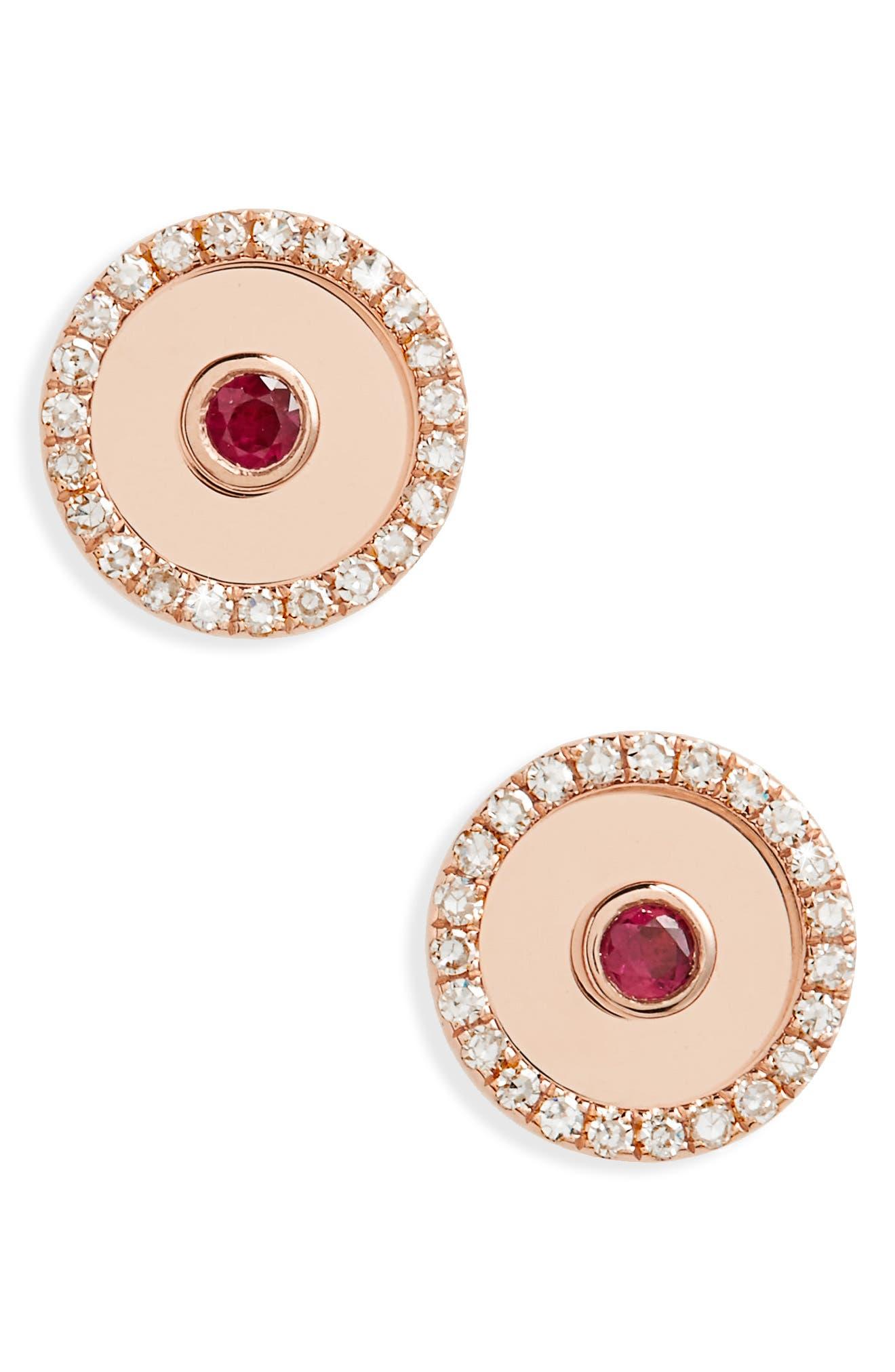Diamond Bullseye Stud Earrings,                         Main,                         color, Rose Gold