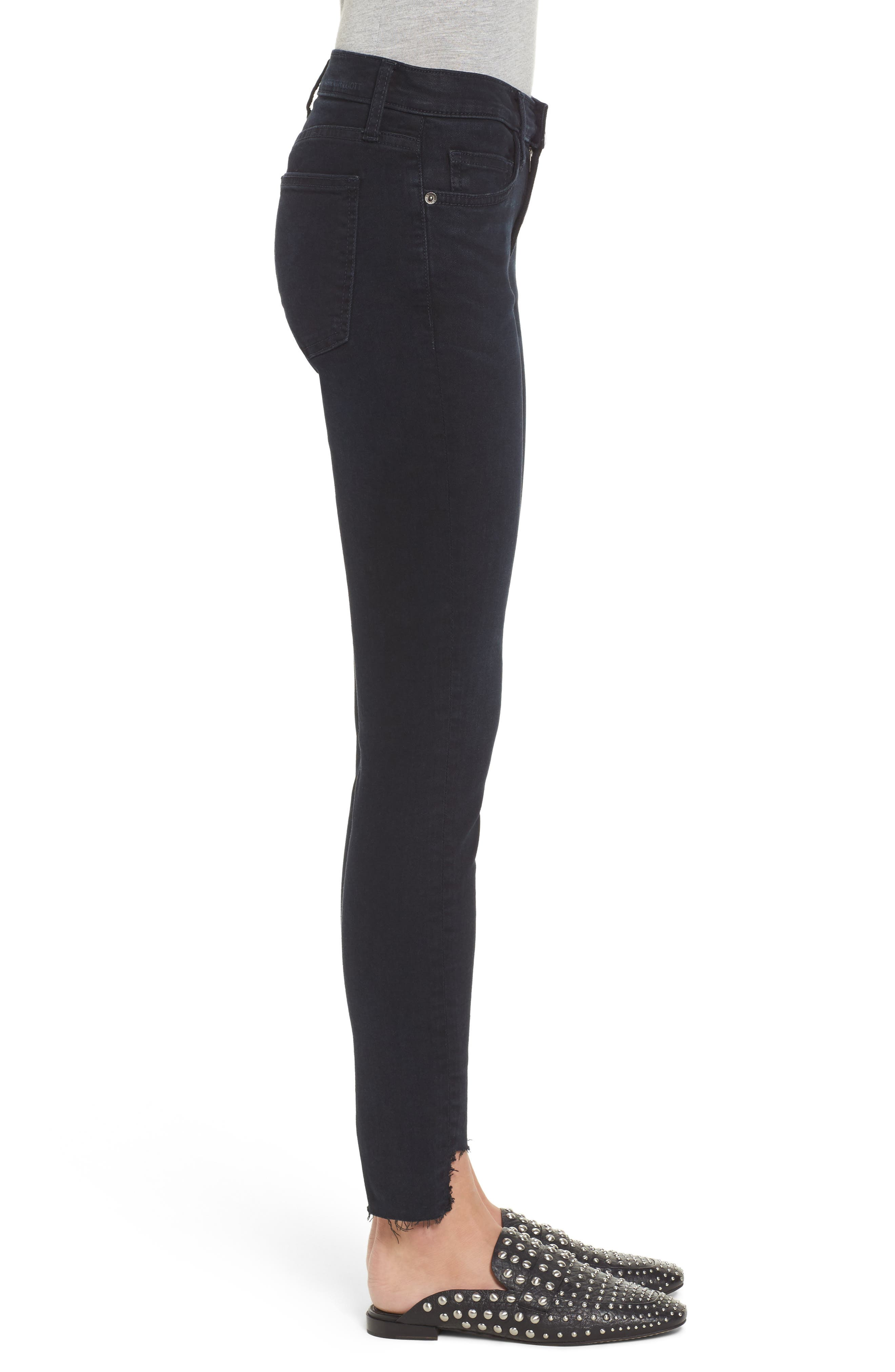 The High Waist Stiletto Ankle Skinny Jeans,                             Alternate thumbnail 3, color,                             Blueridge W/ Uneven Cut Hem