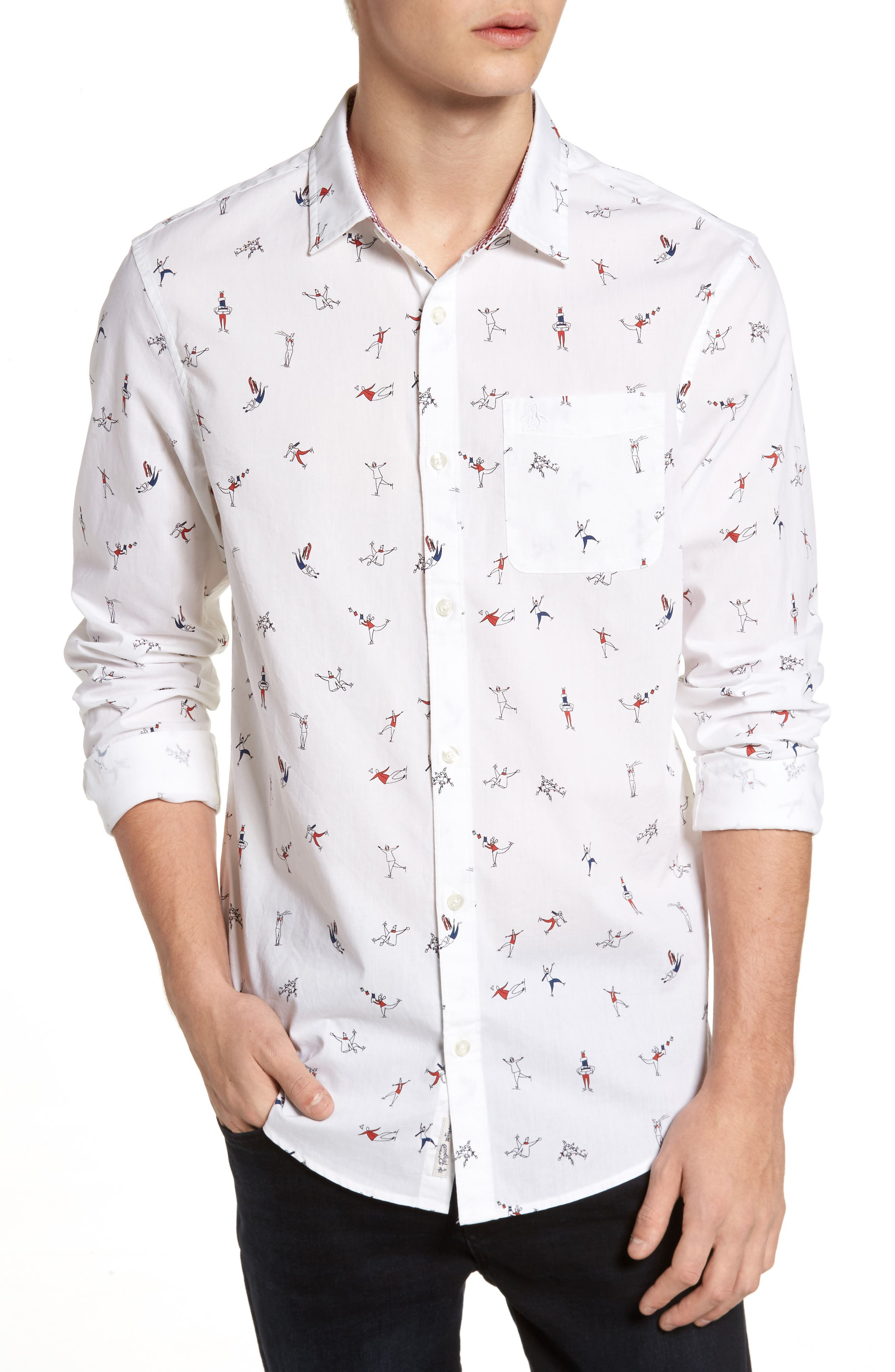 Clumsy Skaters Poplin Shirt,                         Main,                         color, Bright White