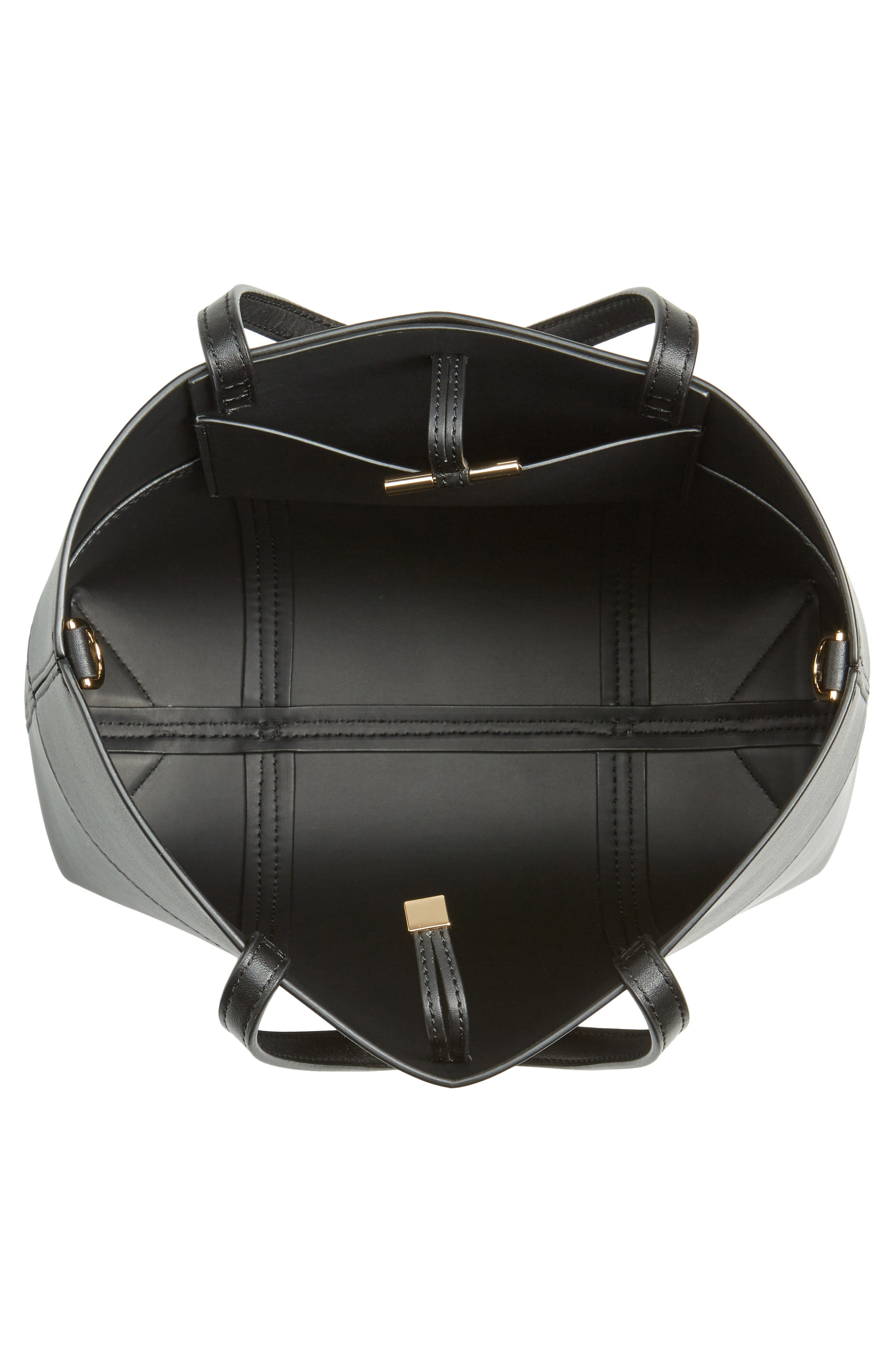 Block-T Mini Leather Tote,                             Alternate thumbnail 4, color,                             Black/Black