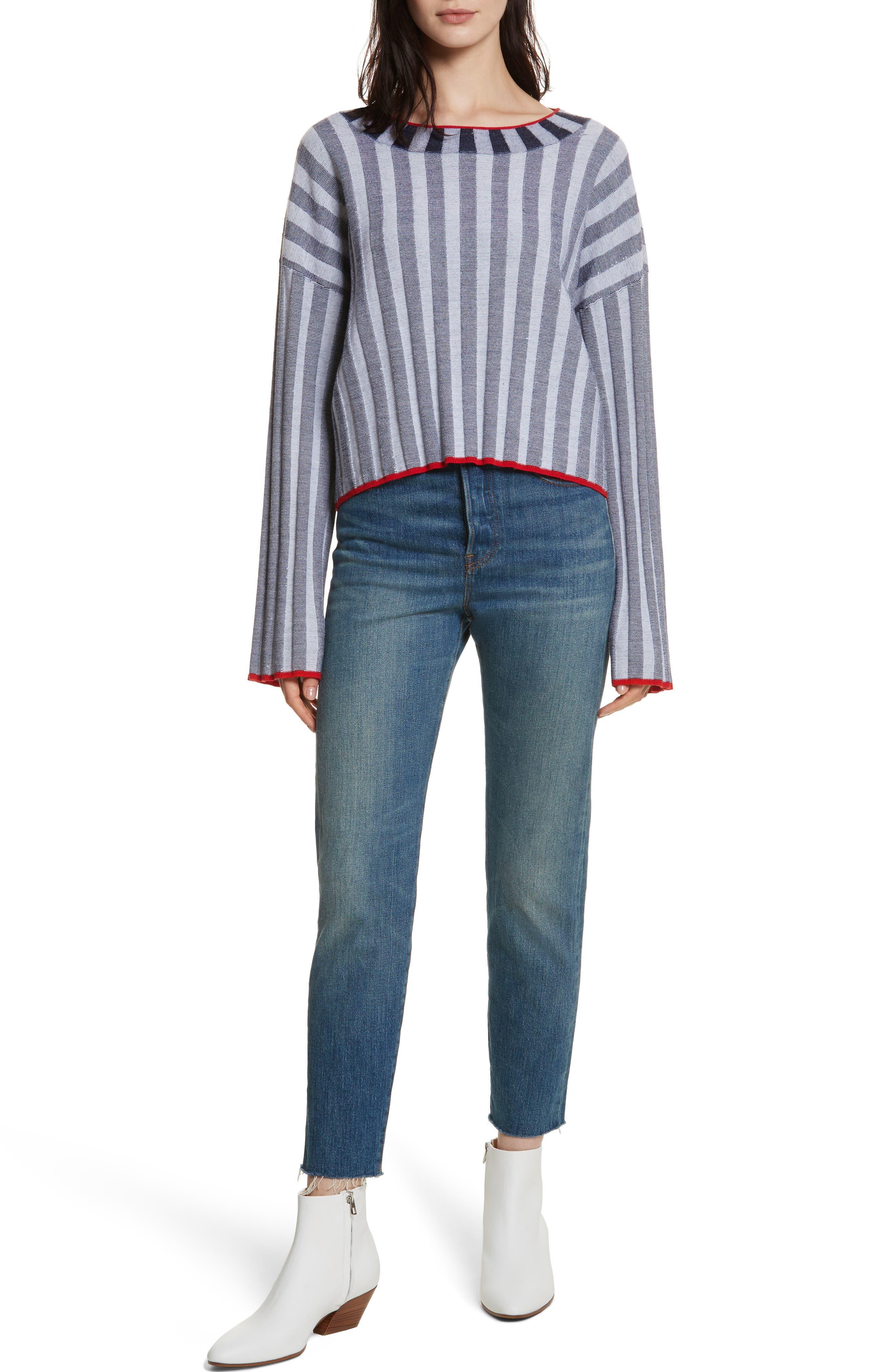 Campbell Stripe Merino Wool Blend Sweater,                             Alternate thumbnail 7, color,                             Navy/ Ivory