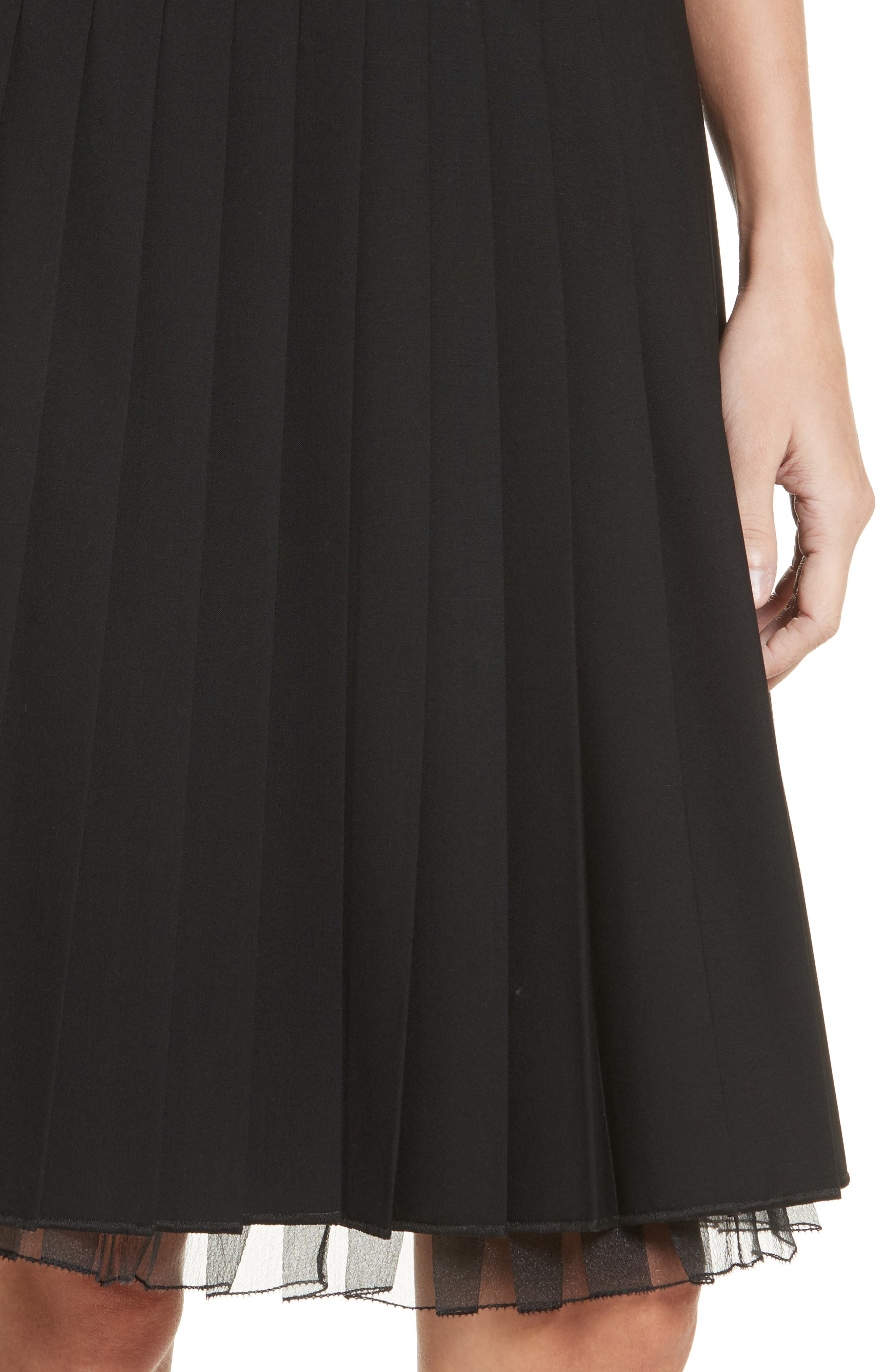 Pleated Stretch Wool Skirt,                             Alternate thumbnail 4, color,                             Black