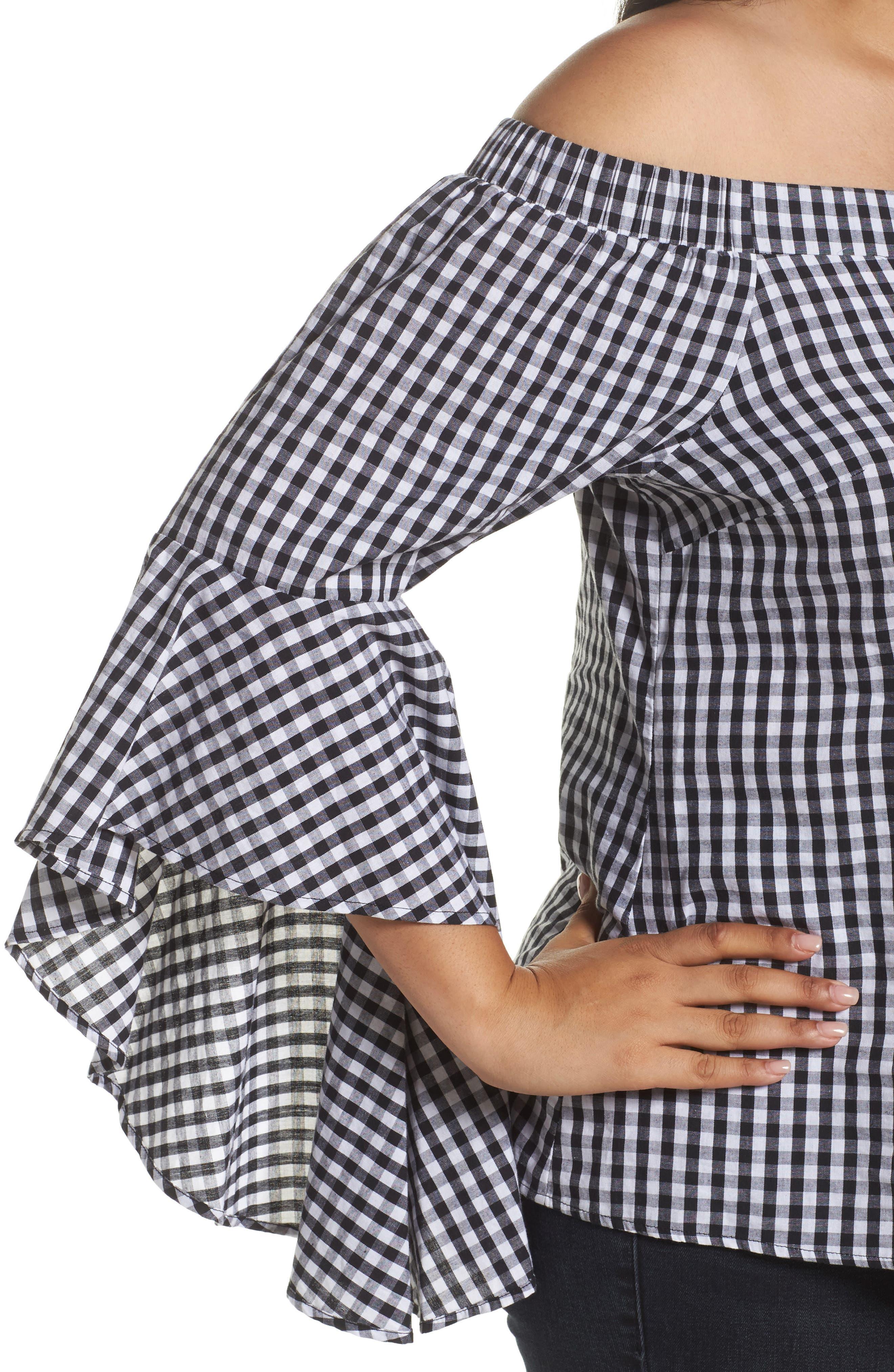 Bell Sleeve Off the Shoulder Shirt,                             Alternate thumbnail 5, color,                             Black / White
