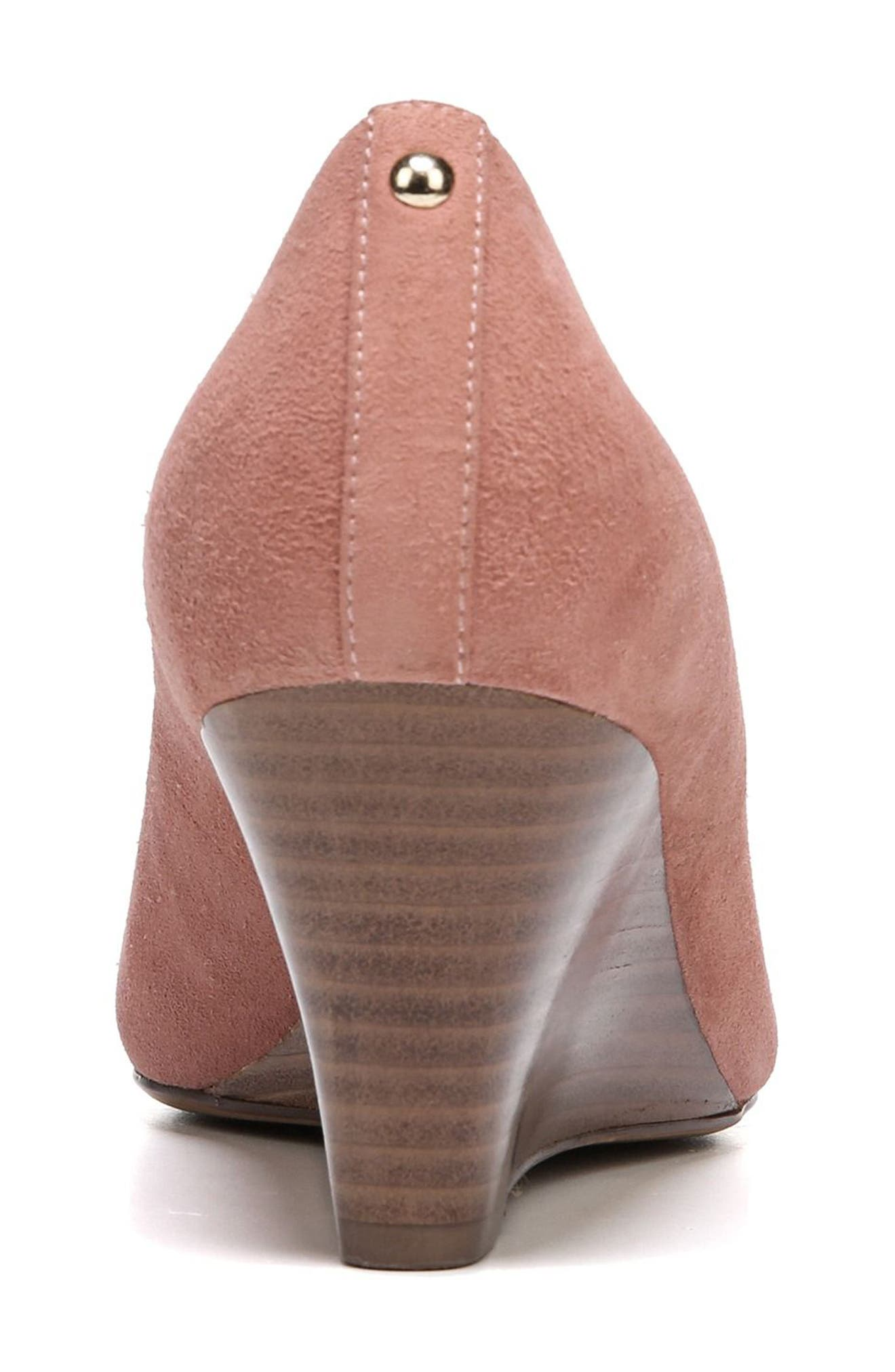 Emily Wedge Pump,                             Alternate thumbnail 6, color,                             Peony Pink Suede