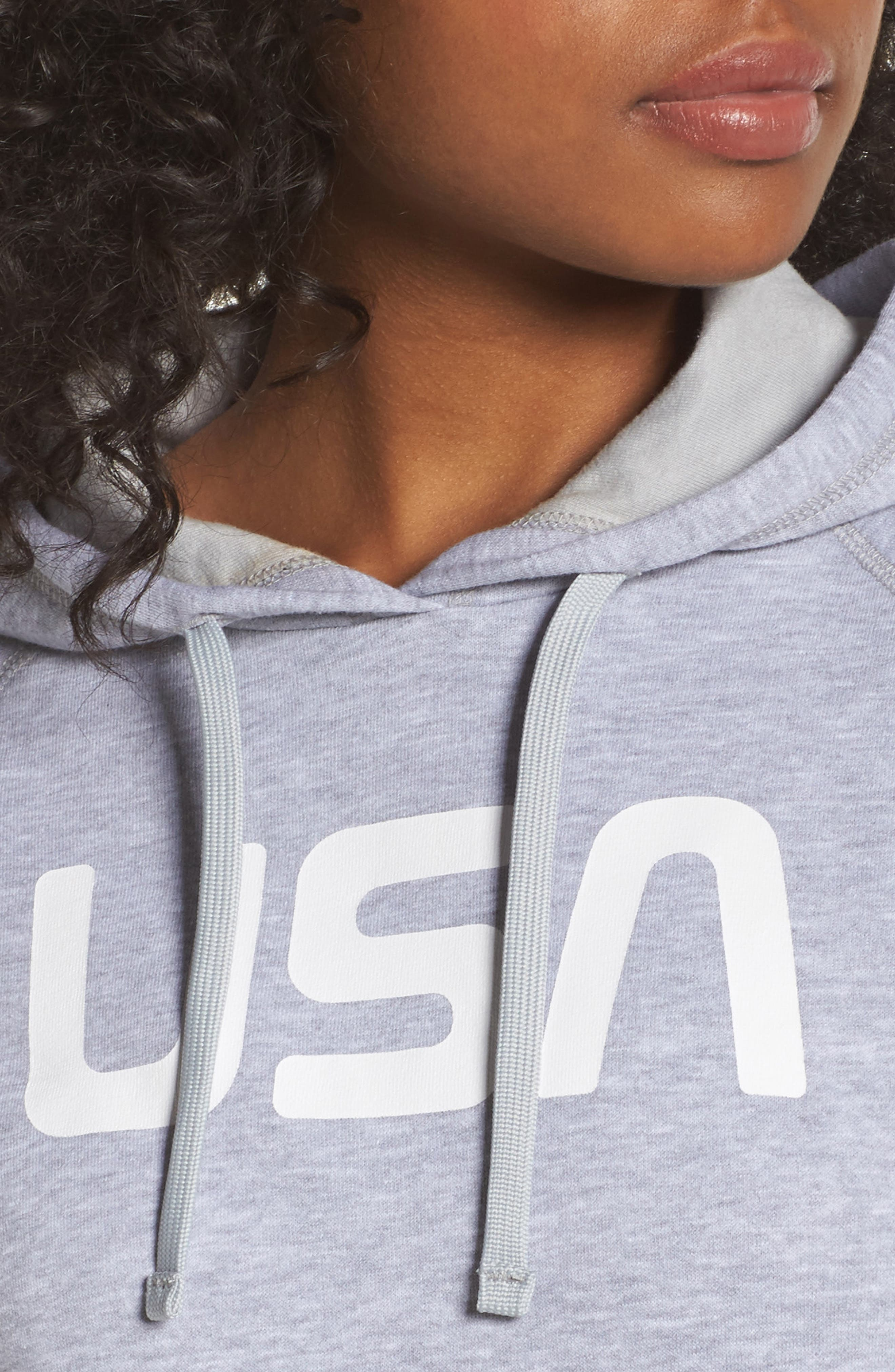 International Collection USA Pullover Hoodie,                             Alternate thumbnail 4, color,                             Tnf Light Grey Heather