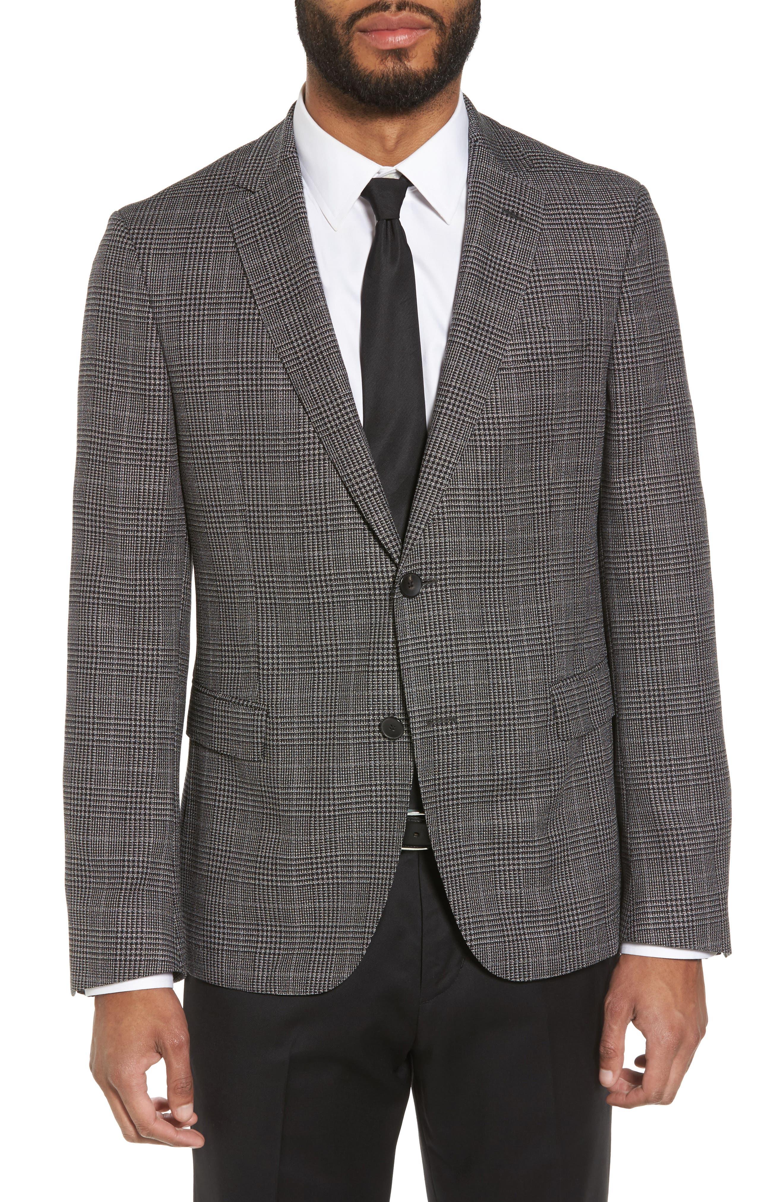Main Image - BOSS Nobis Trim Fit Plaid Wool & Silk Blend Sport Coat