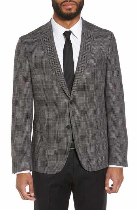 5d63322d76f5 BOSS Nobis Slim Fit Plaid Wool   Silk Blend Sport Coat