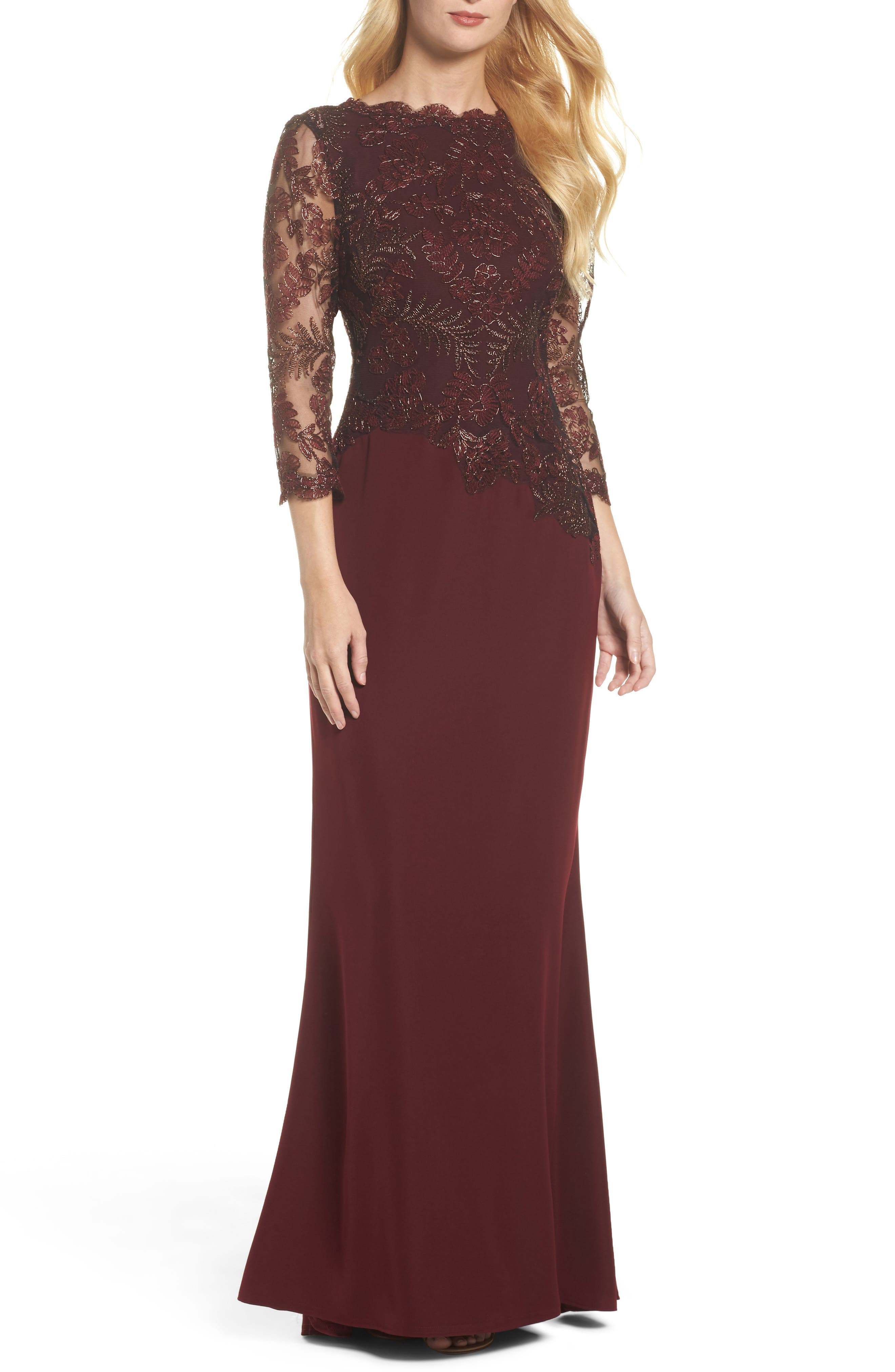 Embroidered Woven Gown,                             Main thumbnail 1, color,                             Raisin