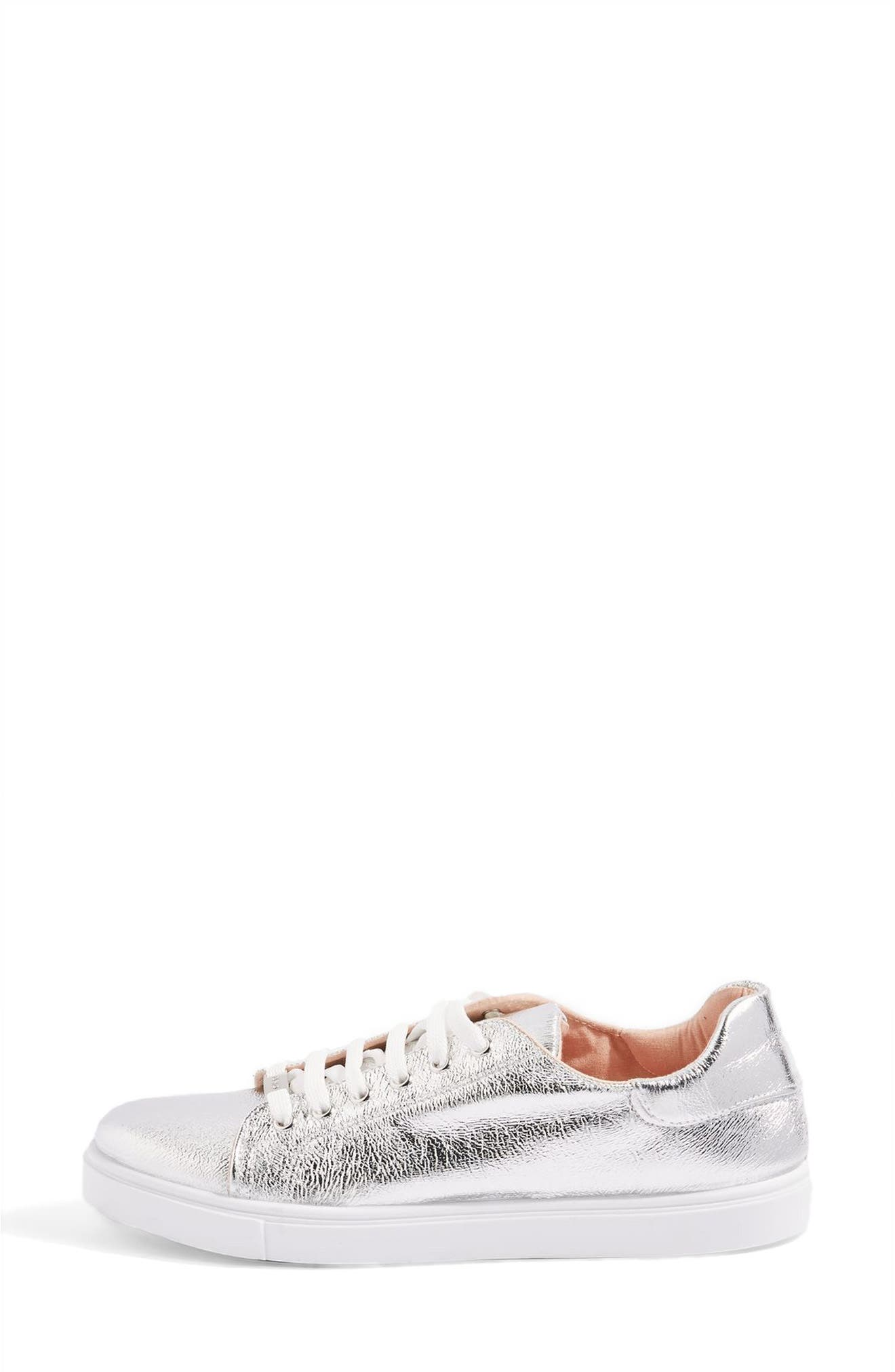 Cosmo Metallic Lace-Up Sneaker,                             Alternate thumbnail 2, color,                             Silver