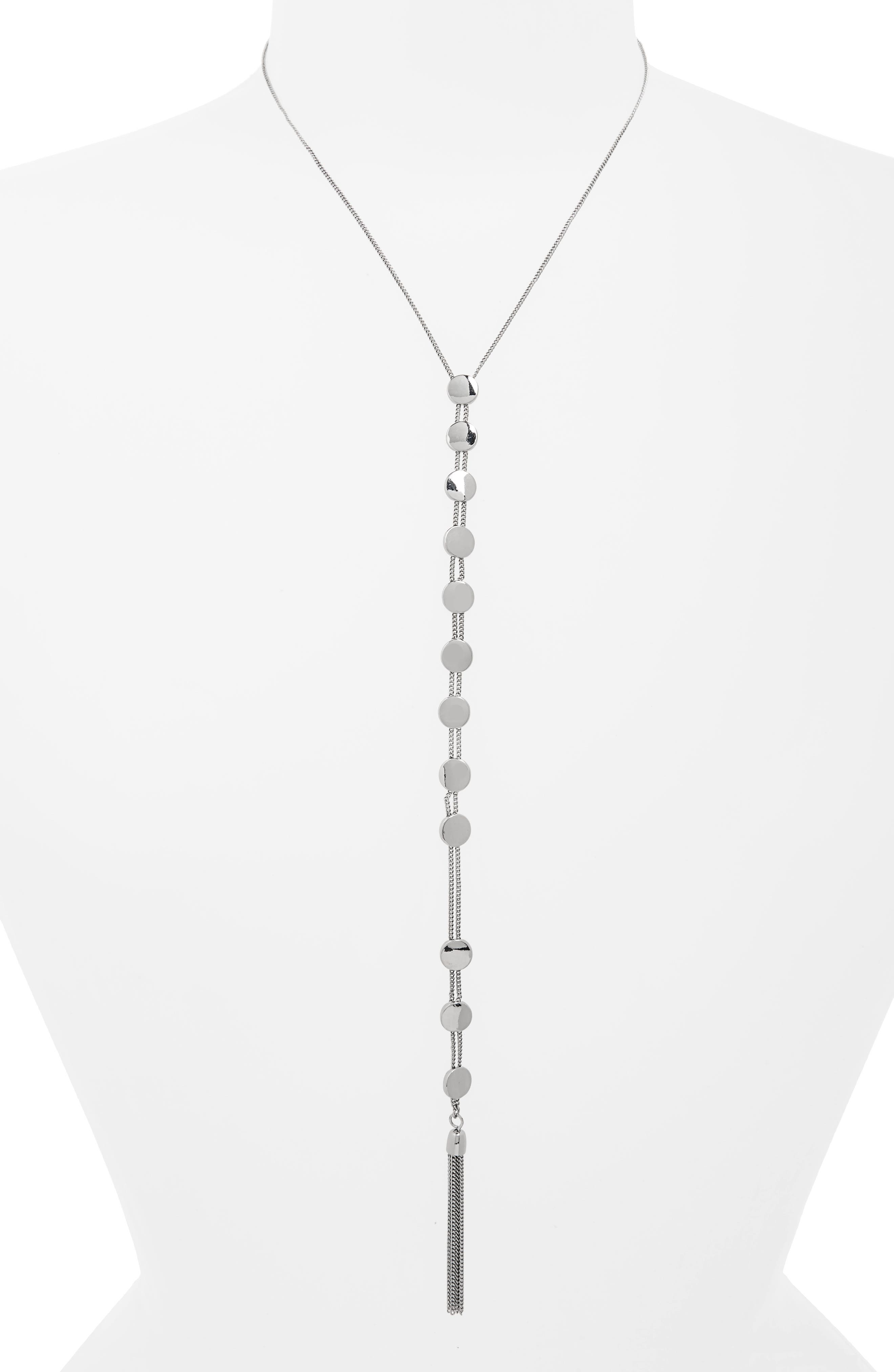 Circle Chain Lariat Necklace,                             Main thumbnail 1, color,                             Silver