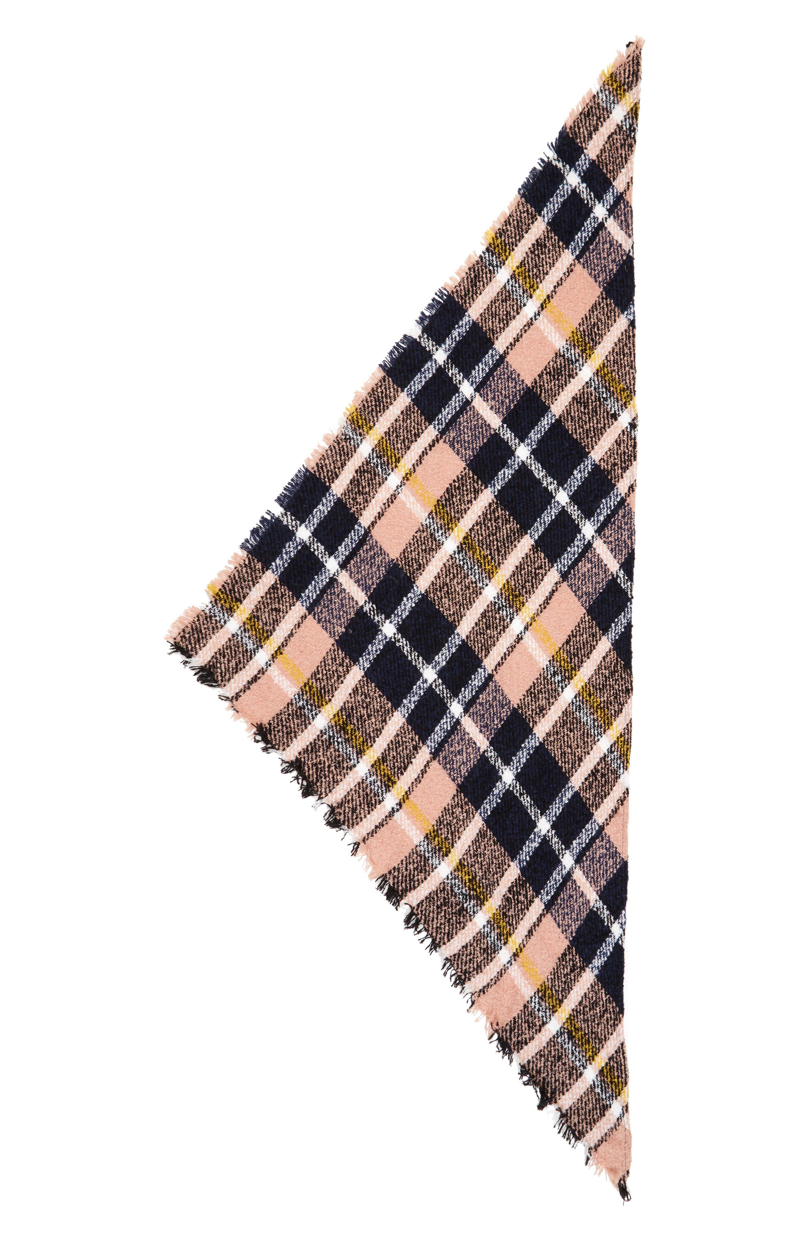 Bouclé Plaid Triangle Scarf,                             Alternate thumbnail 2, color,                             Pink Multi